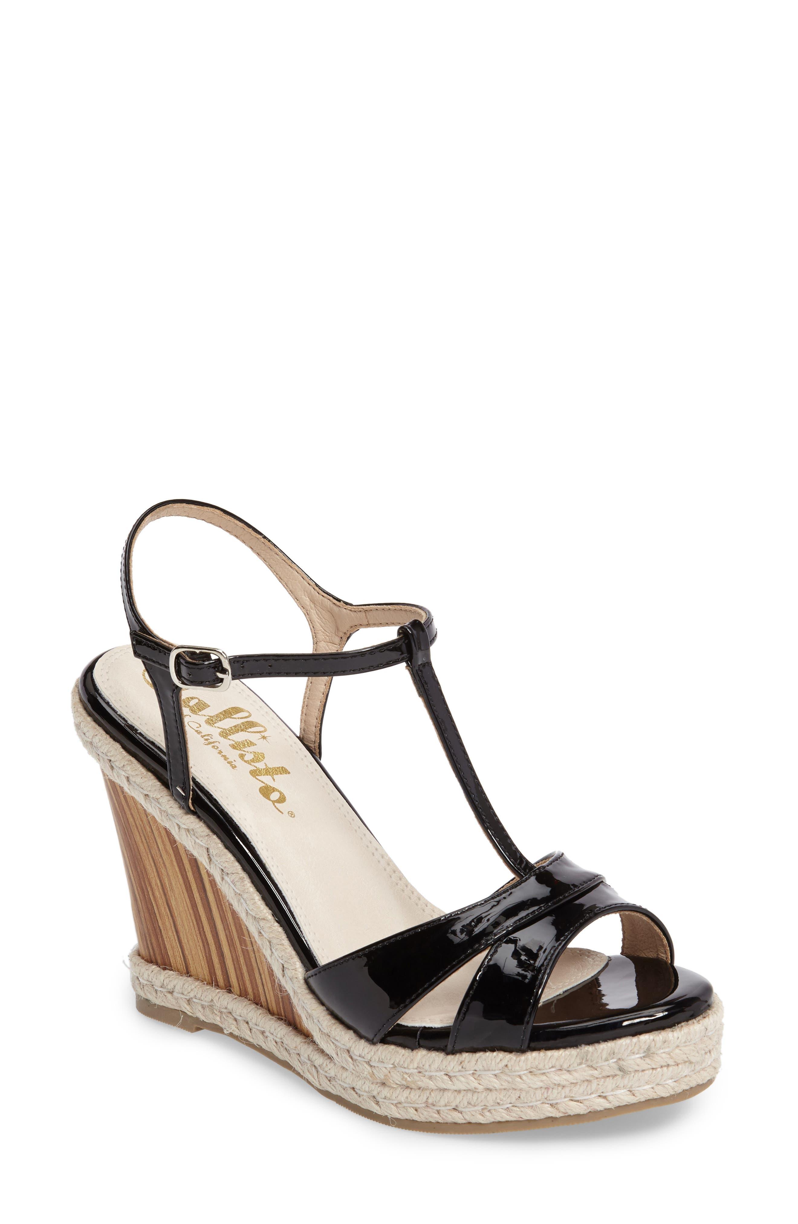 Alinna T-Strap Wedge Sandal,                             Main thumbnail 1, color,                             002