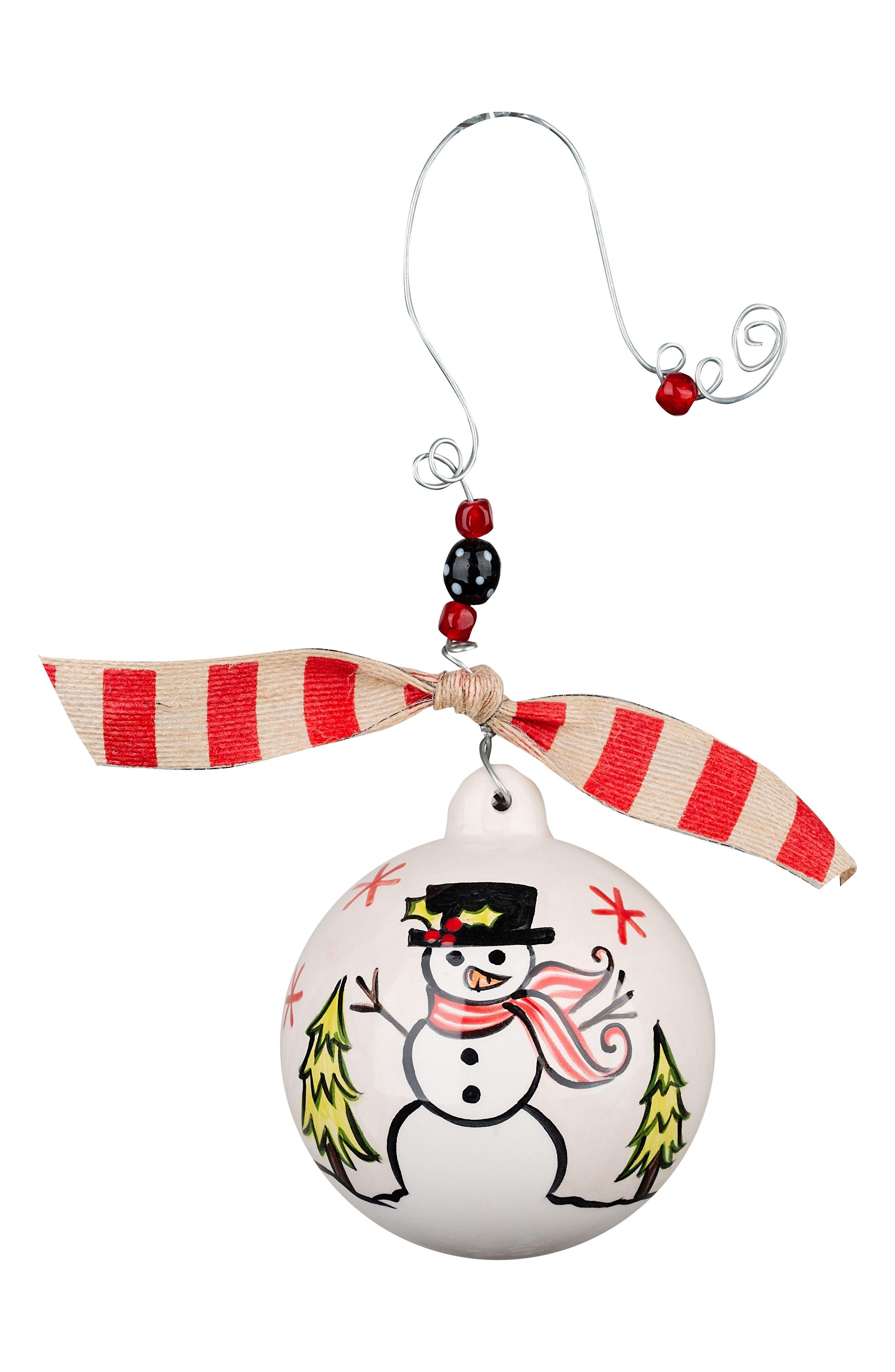 Warm Winter Hugs Snowman Ball Ornament,                             Main thumbnail 1, color,