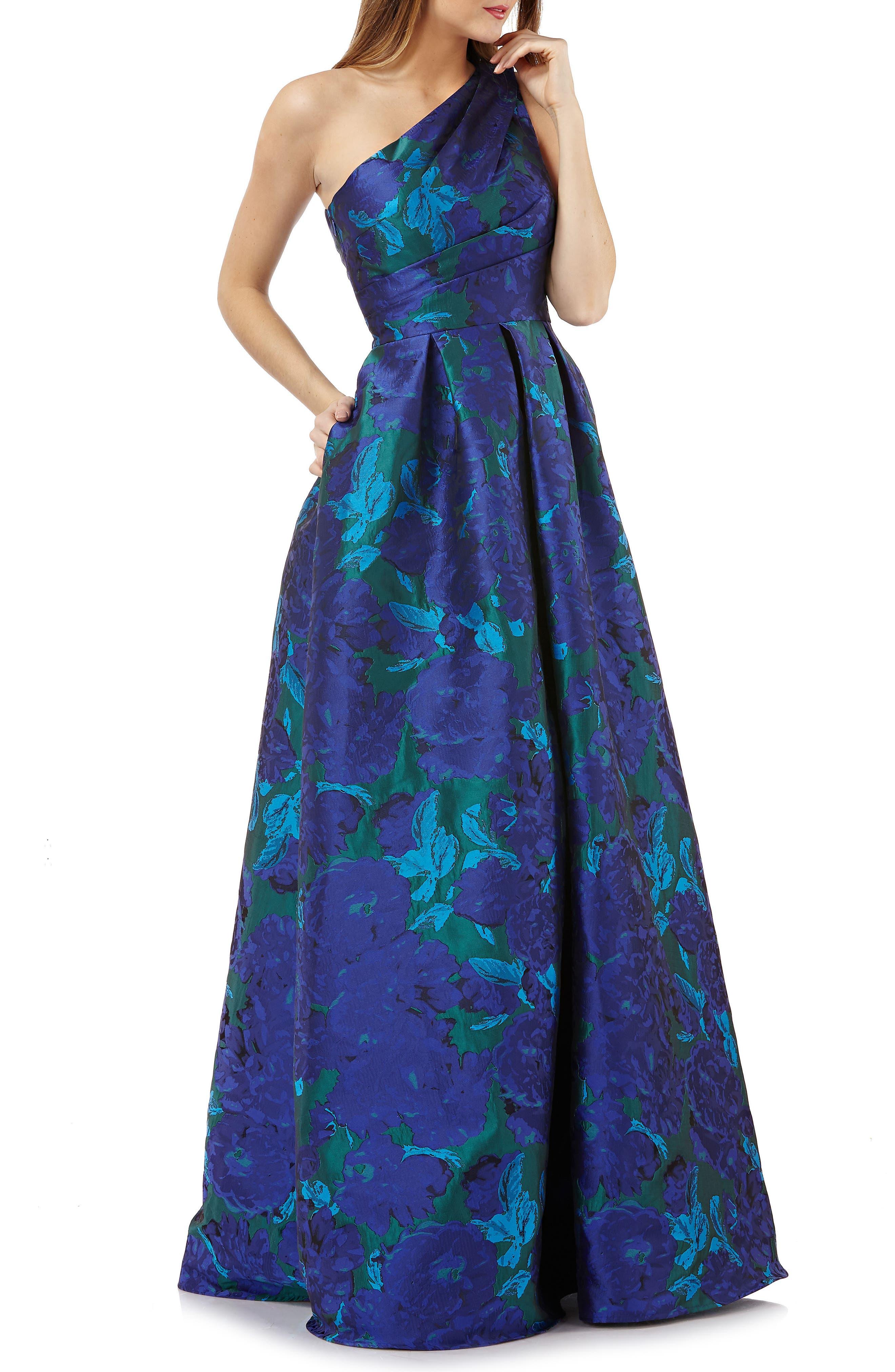 Carmen Marc Valvo Infusion One-Shoulder Ballgown, Blue