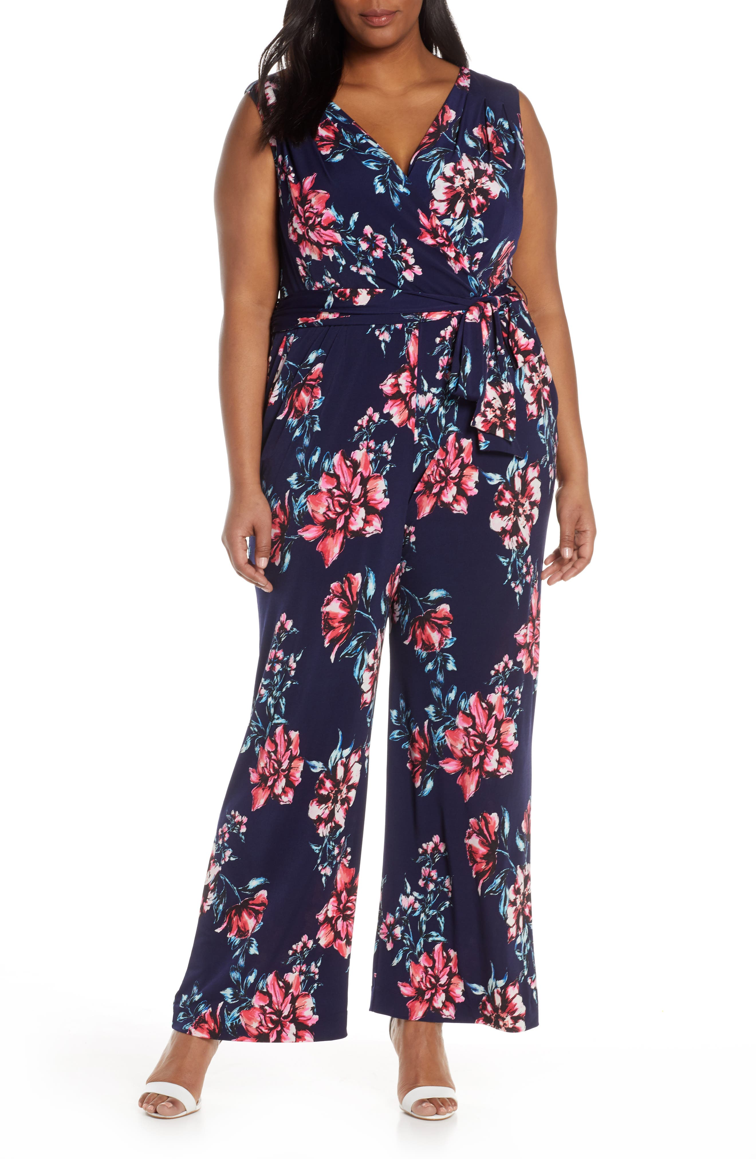 Plus Size Tahari Floral Print Sleeveless Stretch Jersey Jumpsuit, Blue