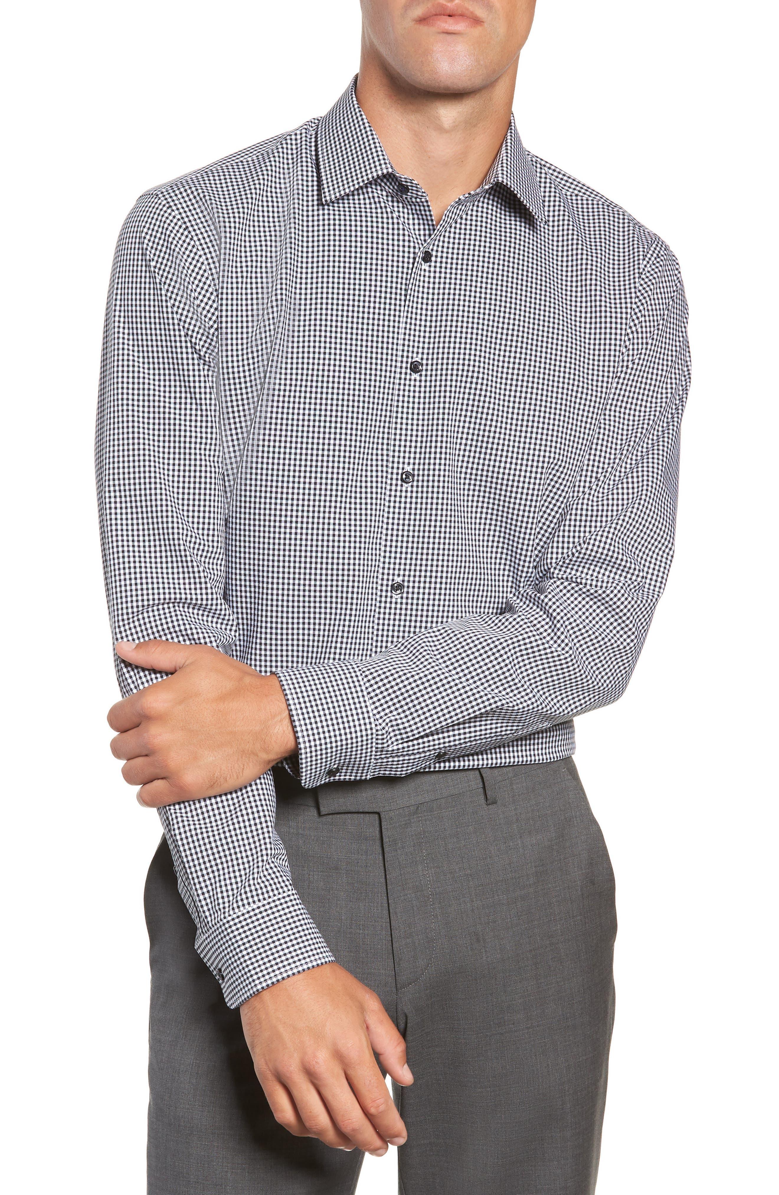 Tech-Smart Trim Fit Stretch Check Dress Shirt,                         Main,                         color, BLACK ROCK