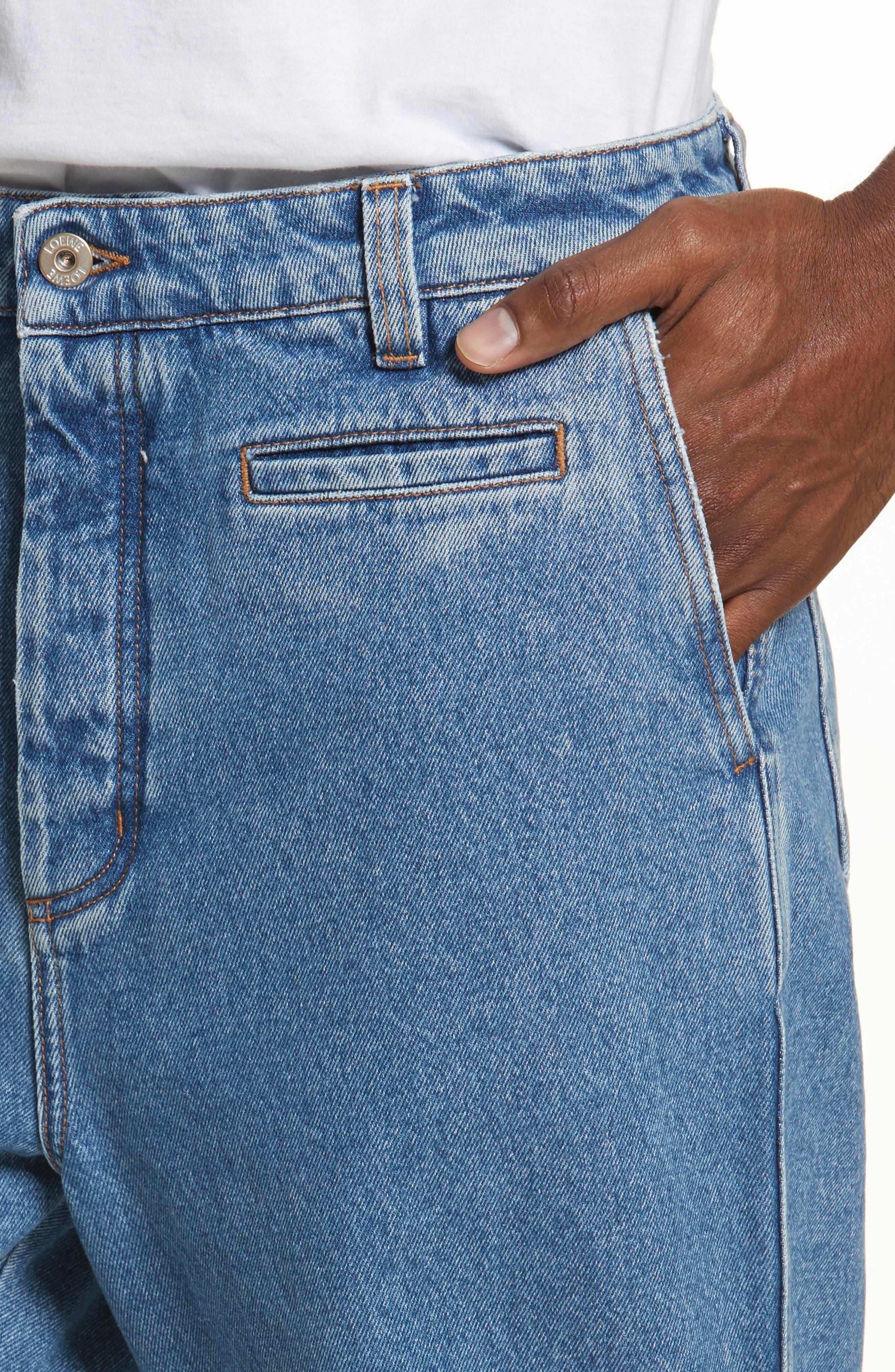 Fisherman Wide Leg Stonewash Jeans,                             Alternate thumbnail 4, color,                             BLUE