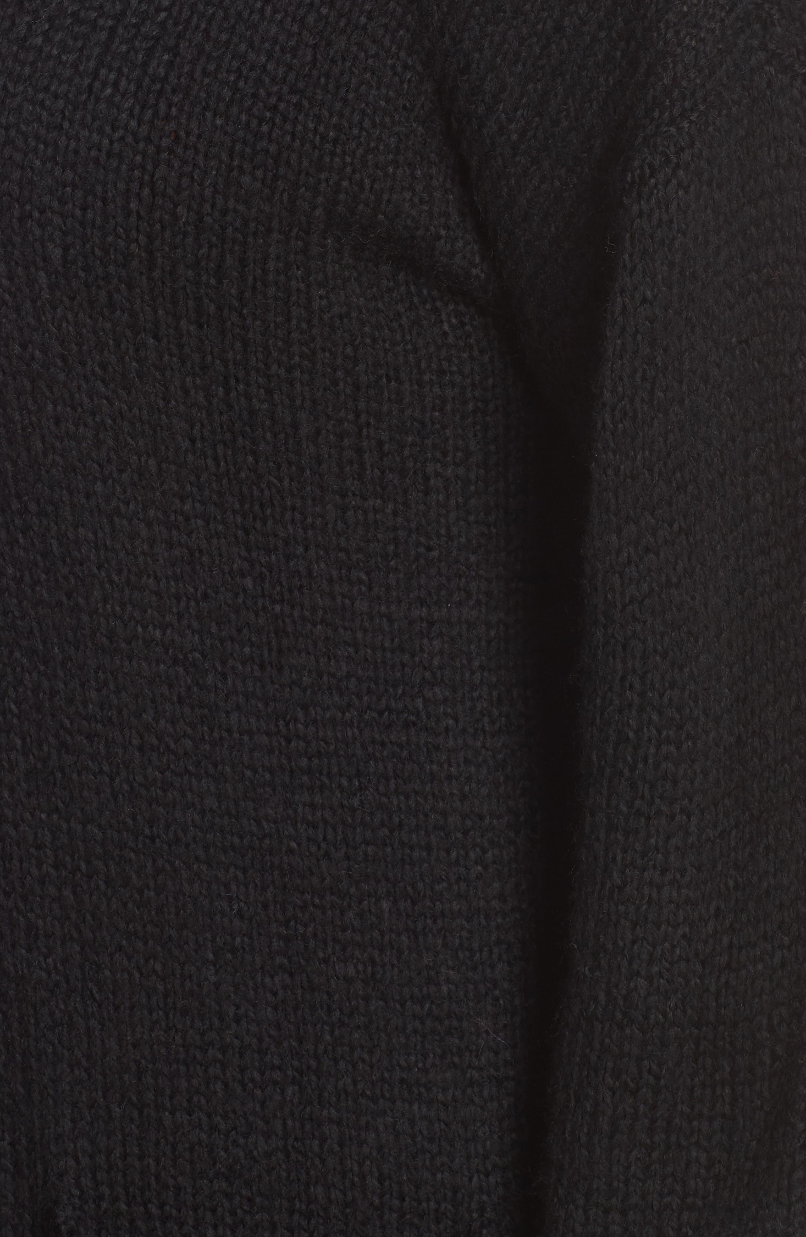 Cozy Shawl Collar Cardigan,                             Alternate thumbnail 5, color,                             BLACK