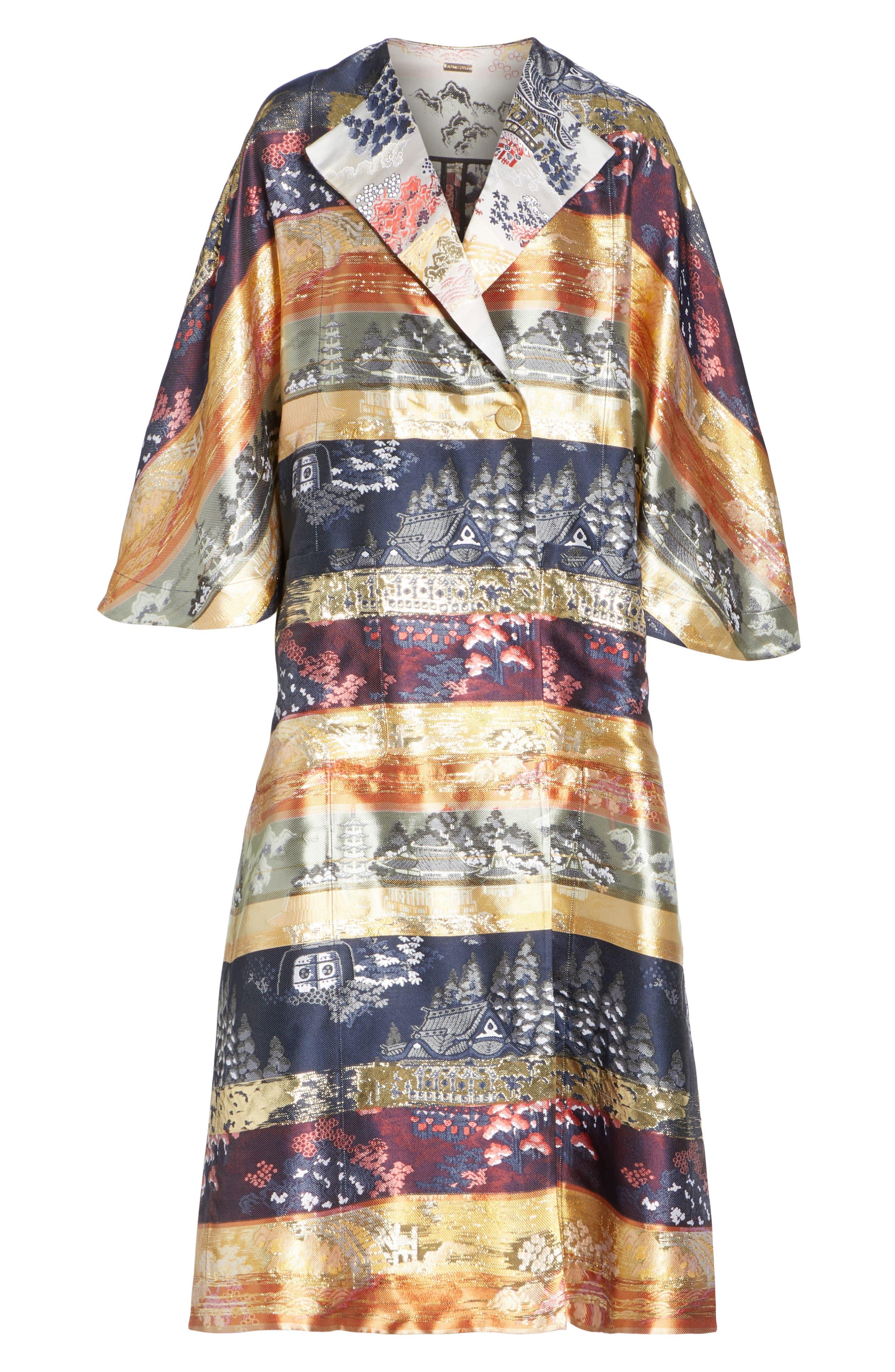 Reversible Silk Lamé Jacquard Coat,                             Alternate thumbnail 6, color,                             475