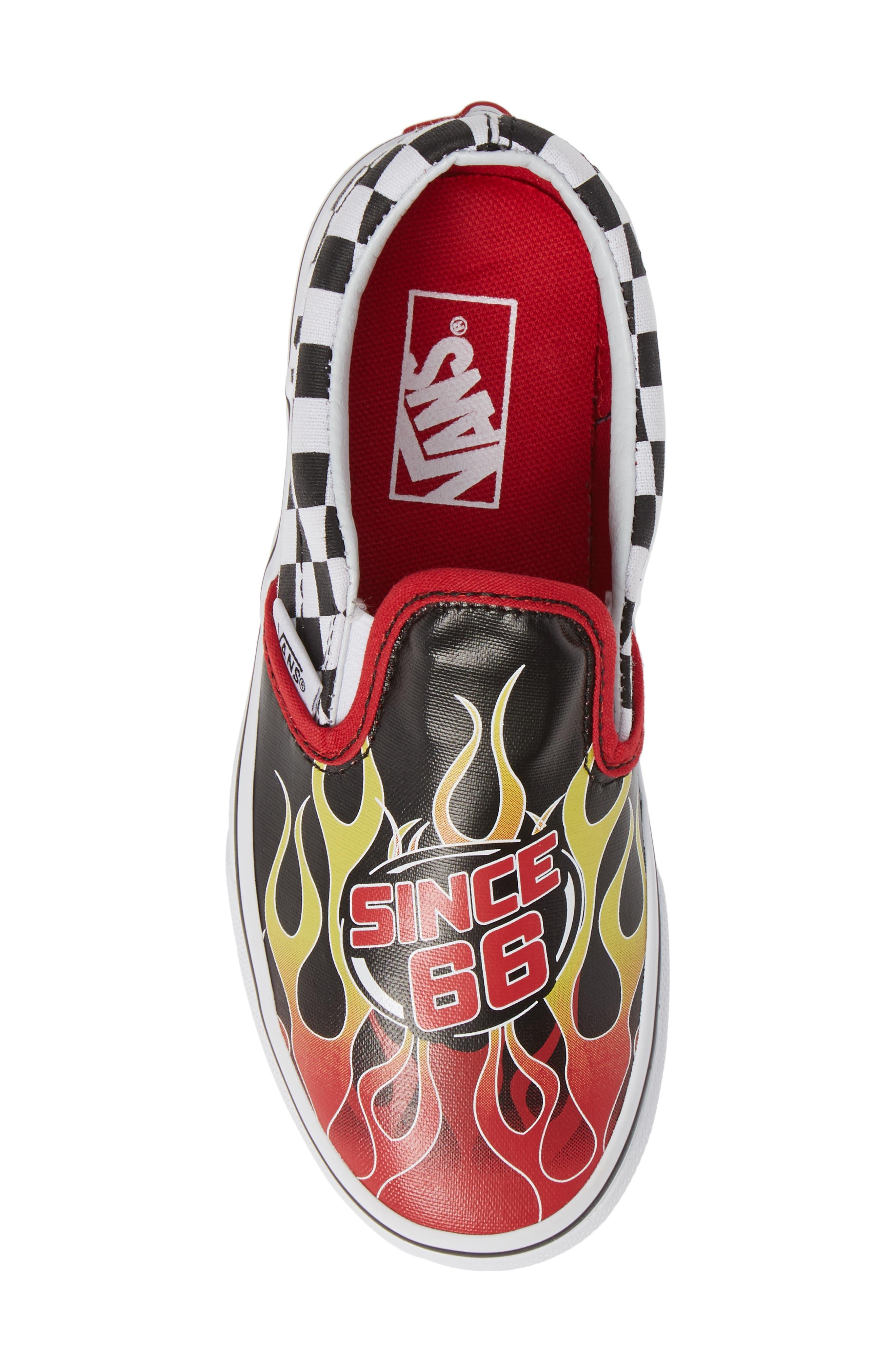 VANS,                             'Classic - Checker' Slip-On,                             Alternate thumbnail 5, color,                             BLACK/ RACING RED/ TRUE WHITE