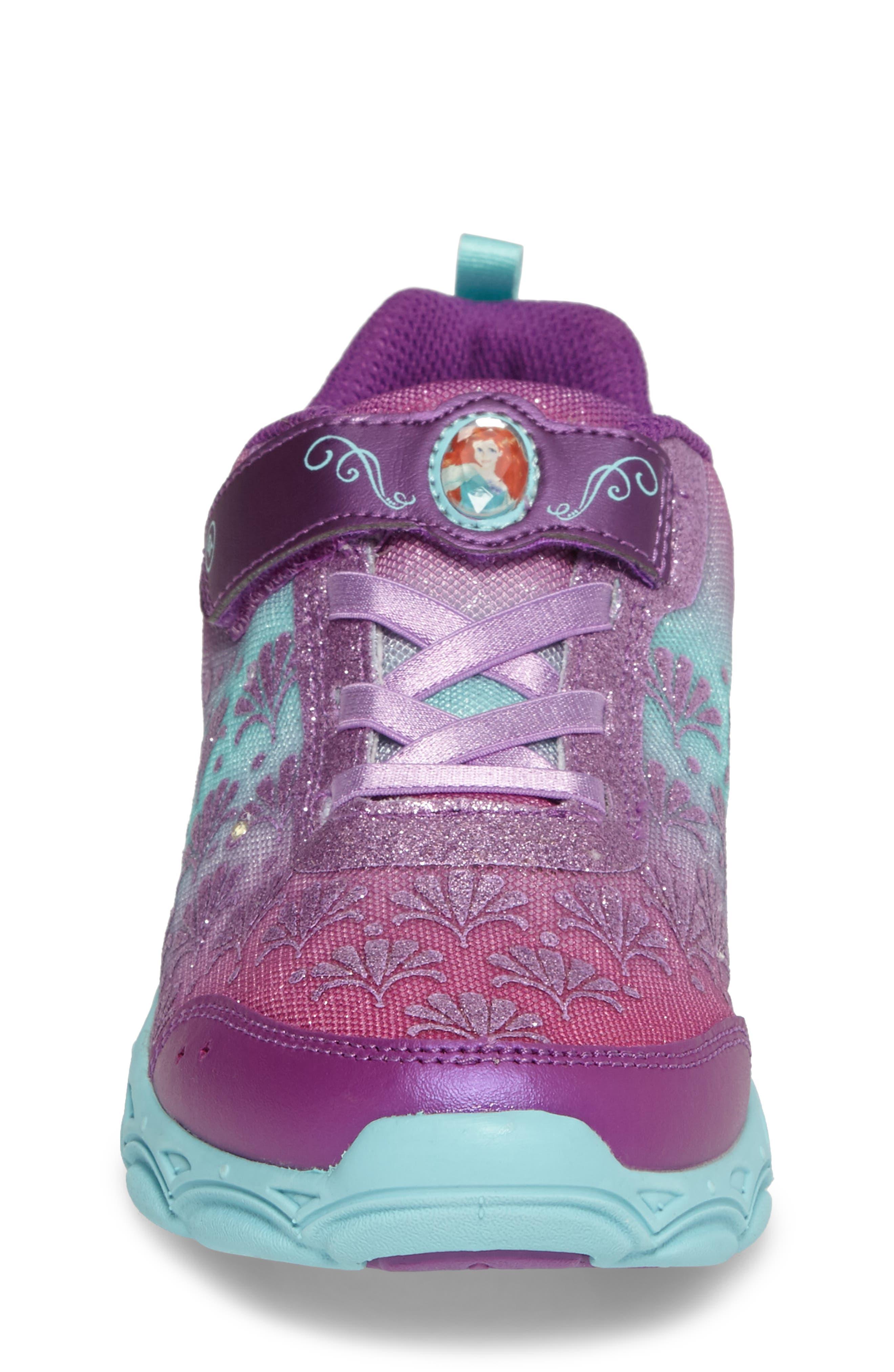 Disney<sup>®</sup> Ariel Ocean Adventurer Light-Up Sneaker,                             Alternate thumbnail 4, color,                             650