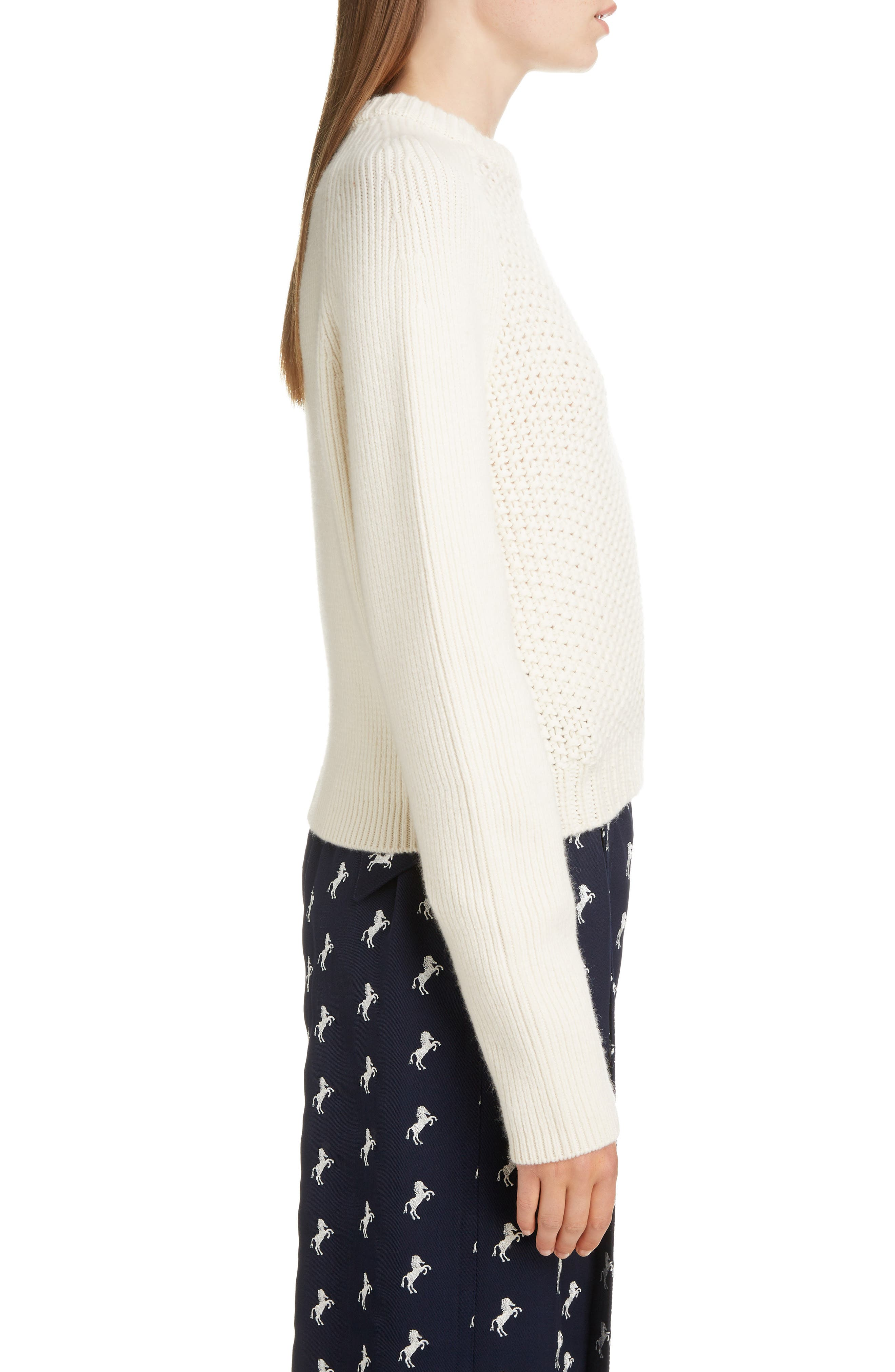 Mixed Knit Wool & Cashmere Blend Sweater,                             Alternate thumbnail 3, color,                             PRISTINE WHITE