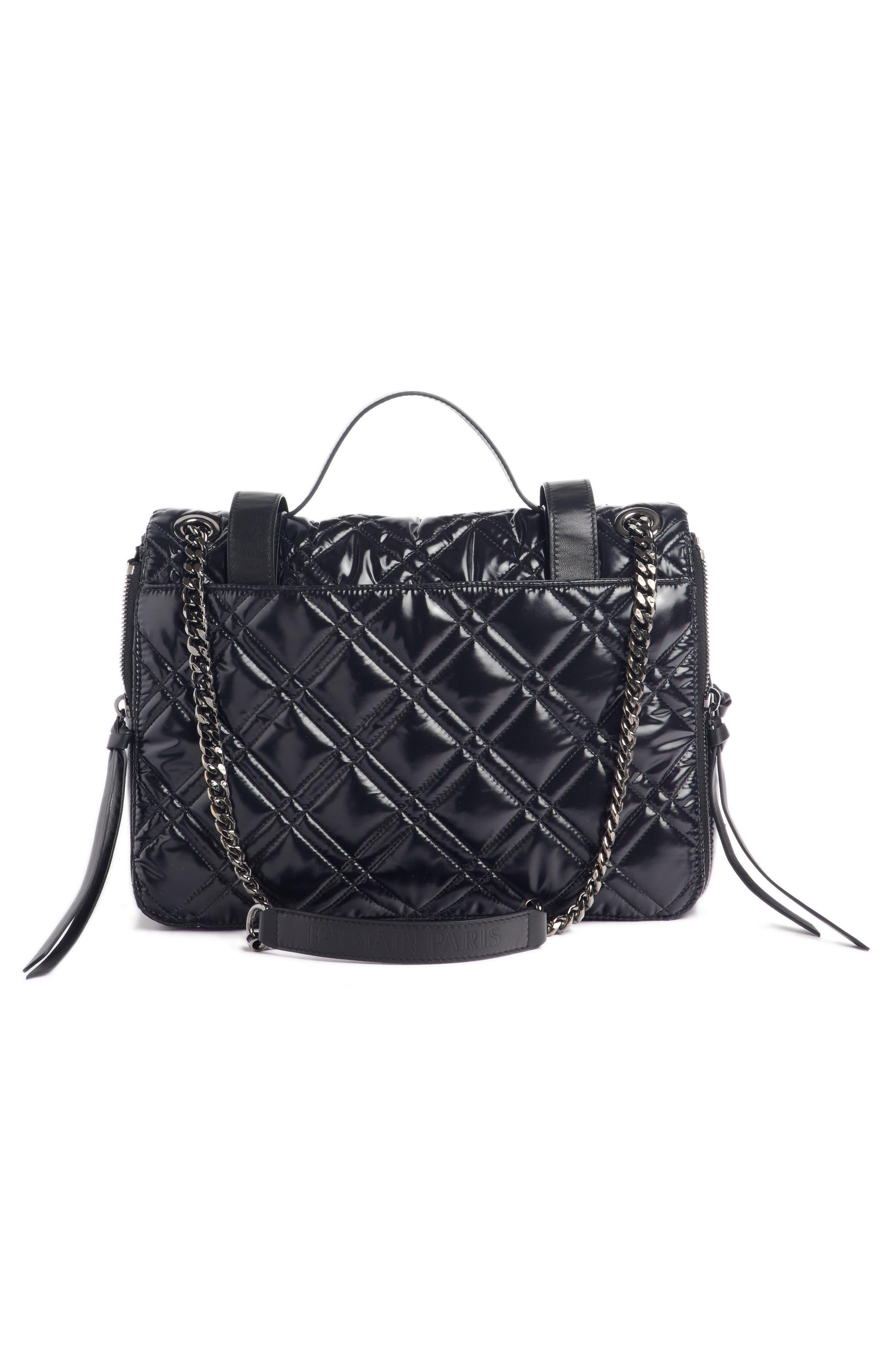 Quilted Faux Leather Shoulder Bag,                             Alternate thumbnail 3, color,                             TRANSPARENT/ NOIR