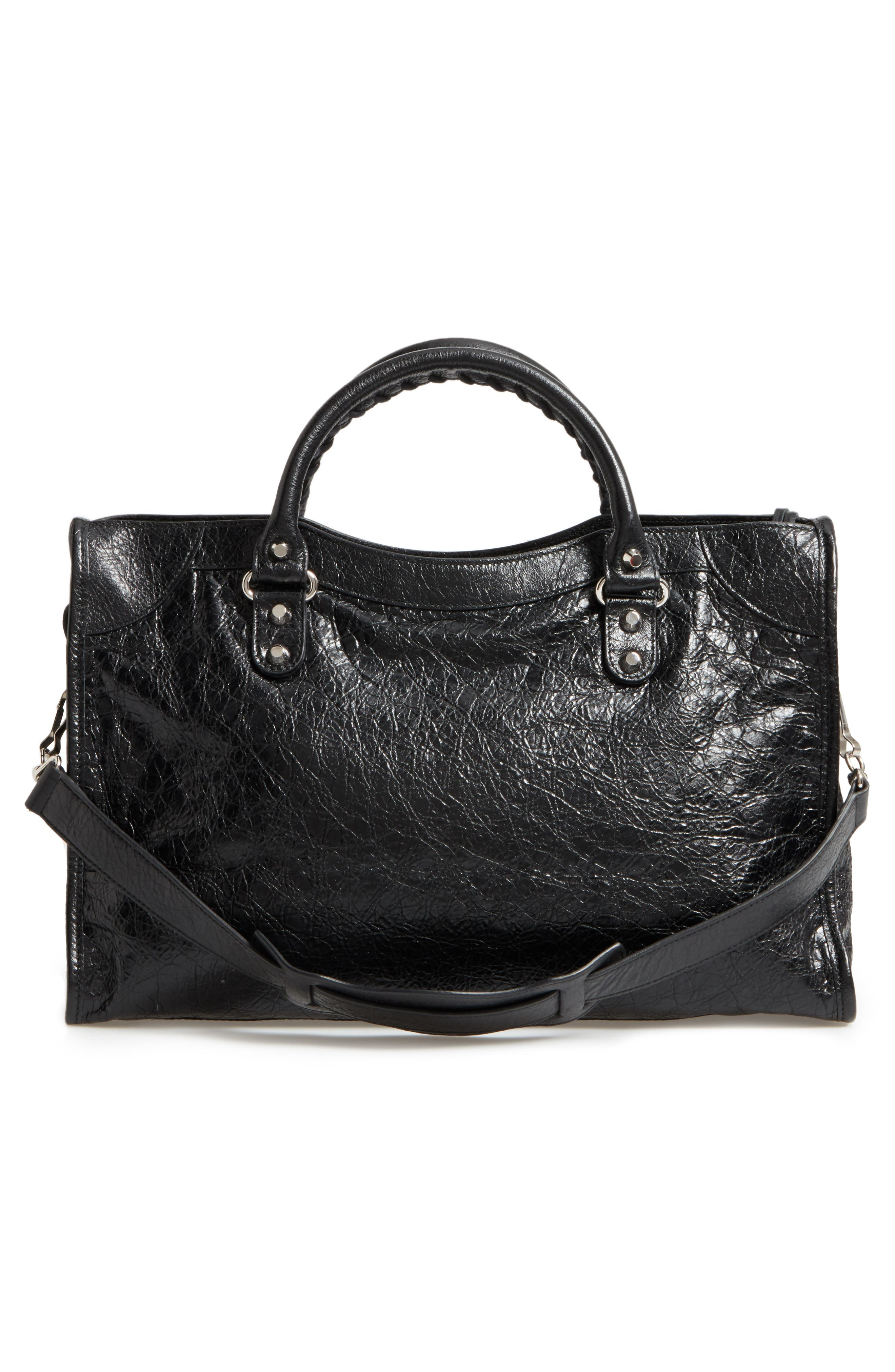 Classic City Leather Tote,                             Alternate thumbnail 3, color,                             001