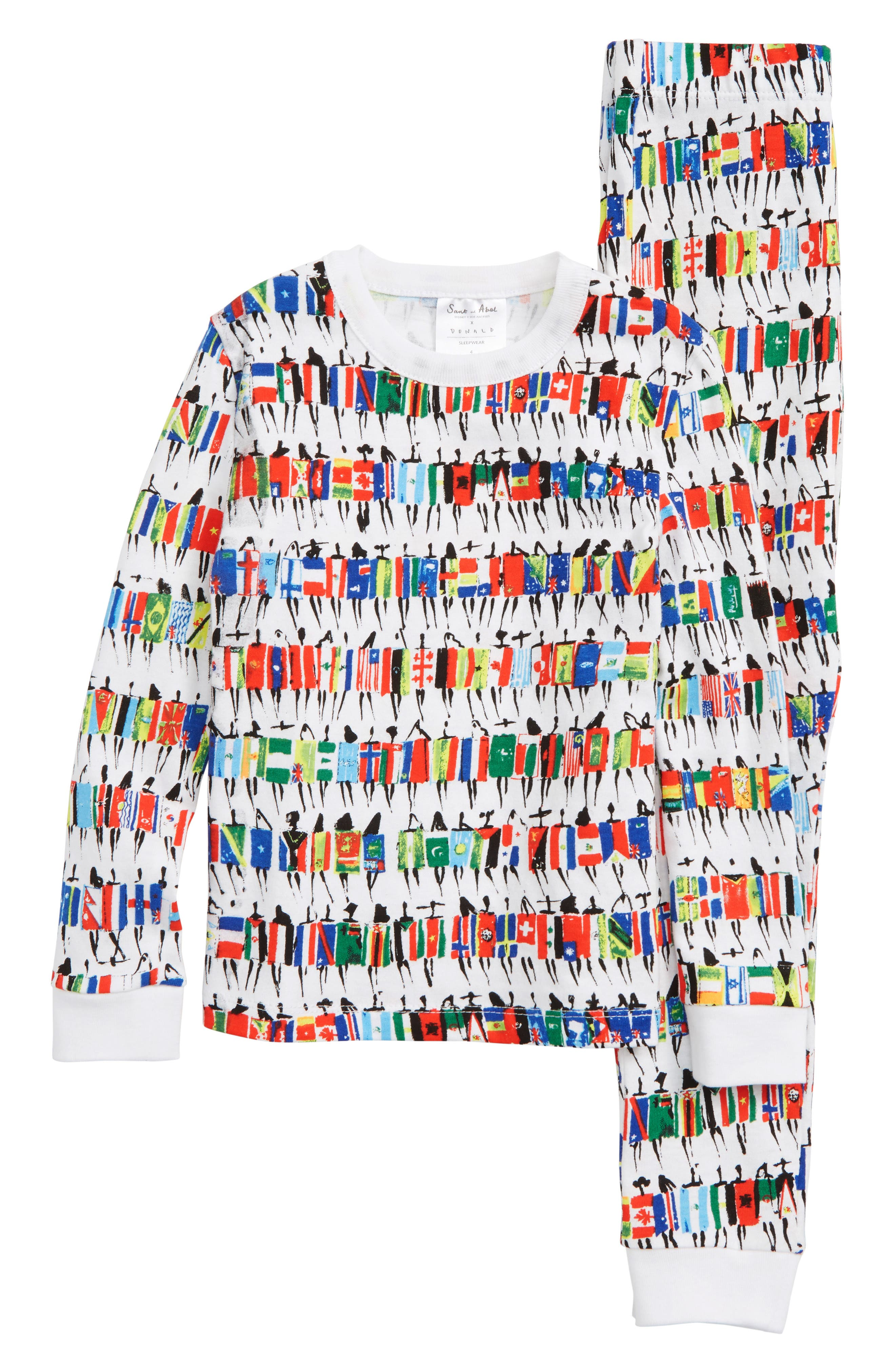 x Donald Robertson Team Immigrant Fitted Two-Piece Pajamas,                             Main thumbnail 1, color,                             RED MULTI
