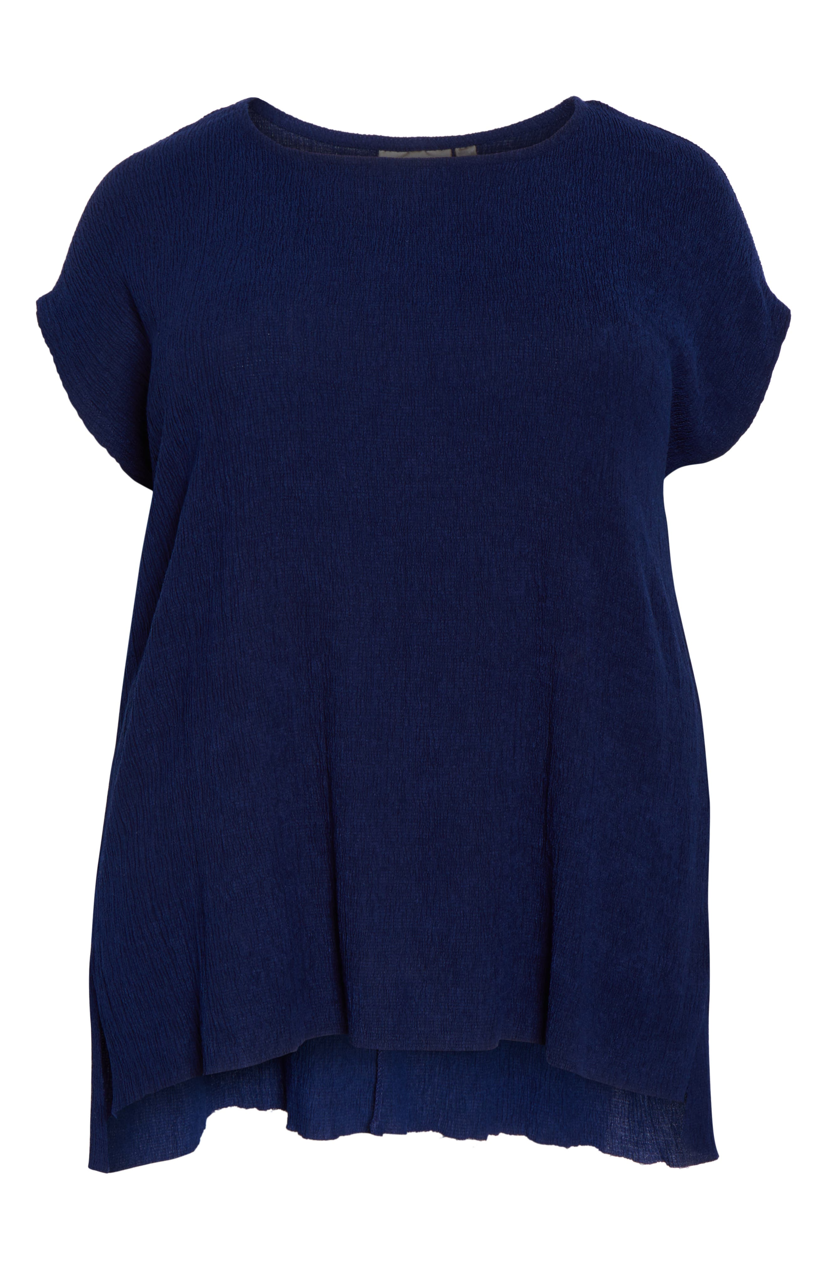 High/Low Crinkle Top,                             Alternate thumbnail 7, color,                             NAVY