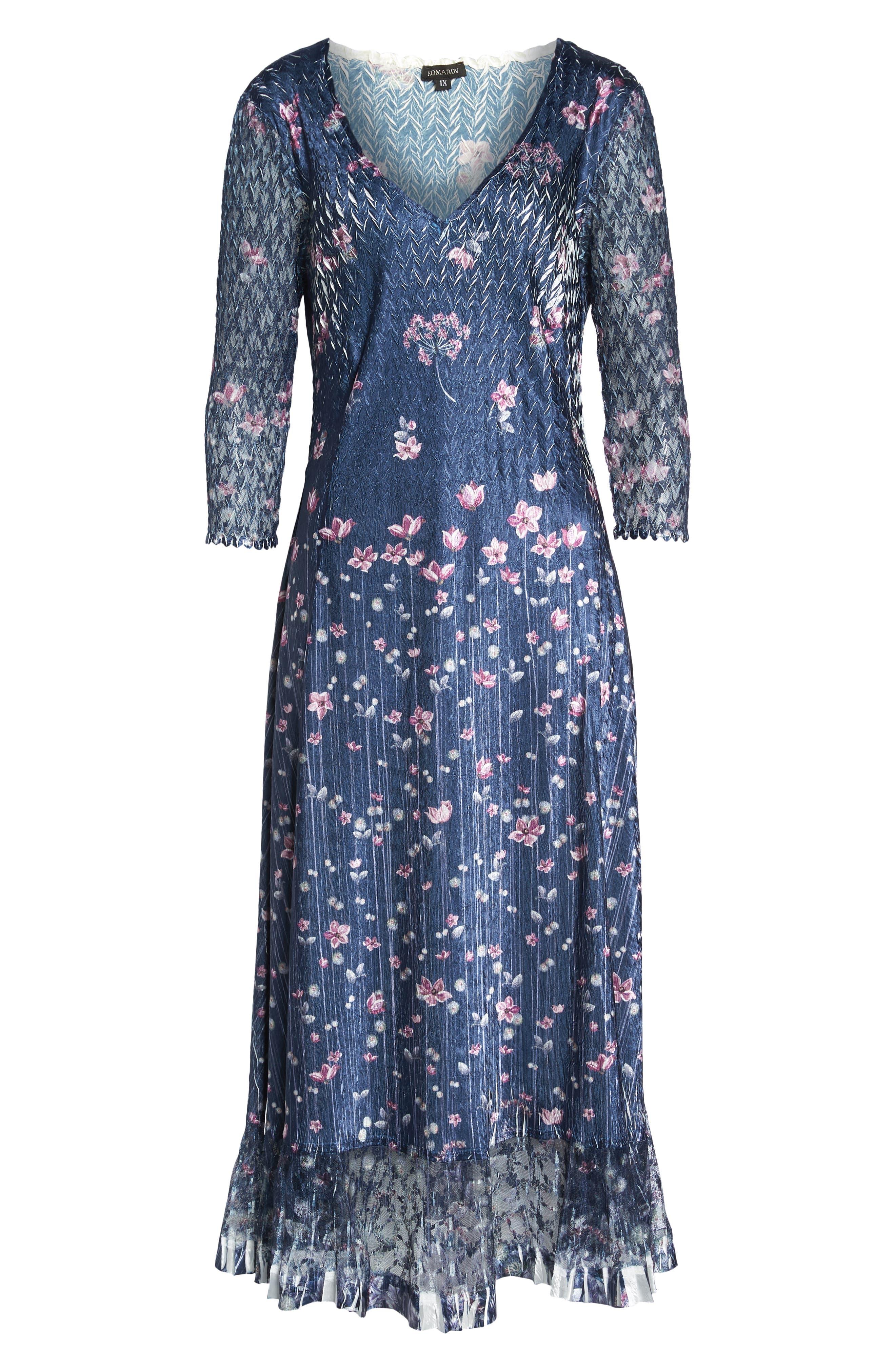 Lace Sleeve Charmeuse Midi Dress,                             Alternate thumbnail 7, color,                             WILD THISTLE