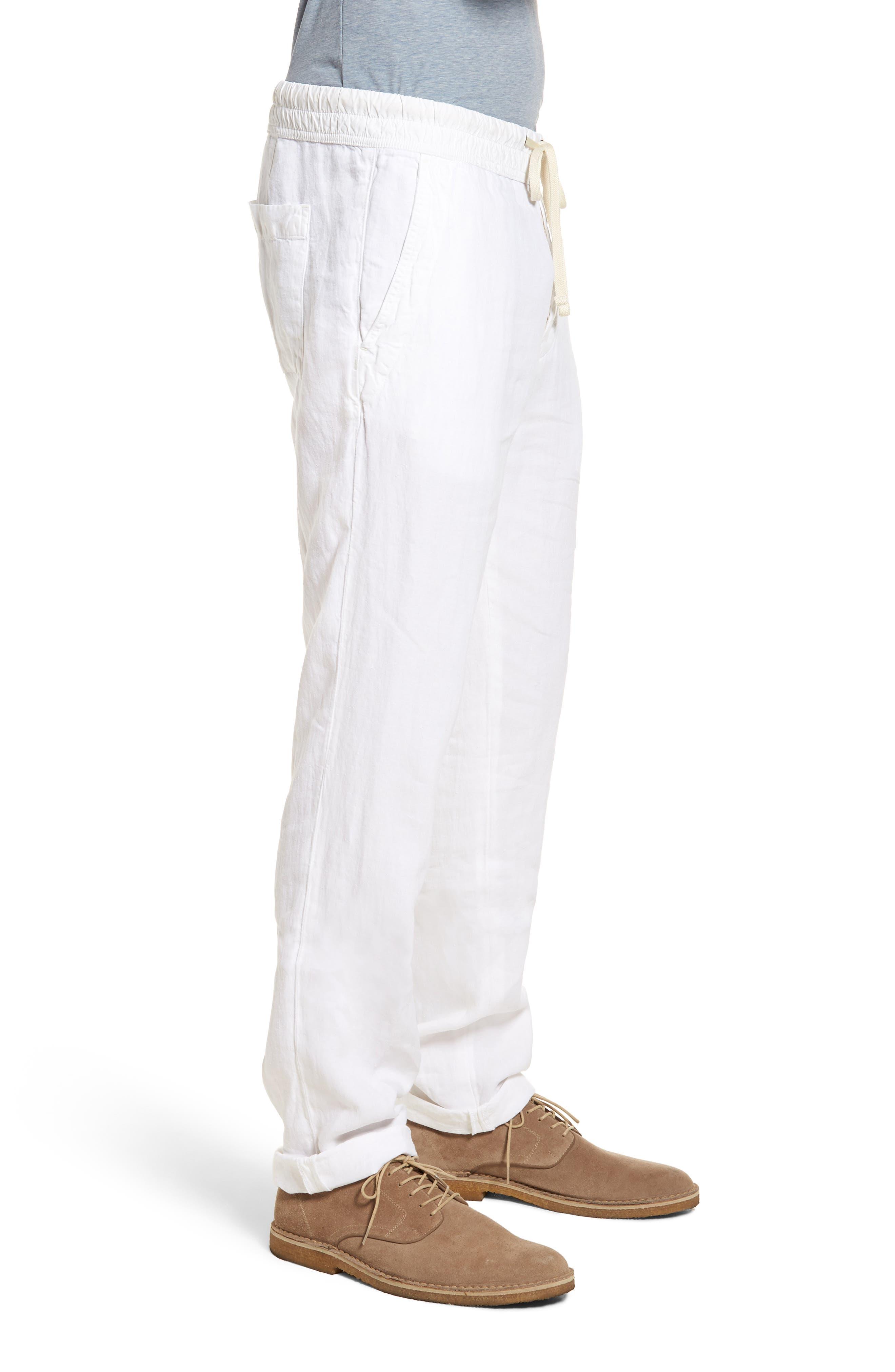 Slim Fit Linen Utility Pants,                             Alternate thumbnail 3, color,                             100