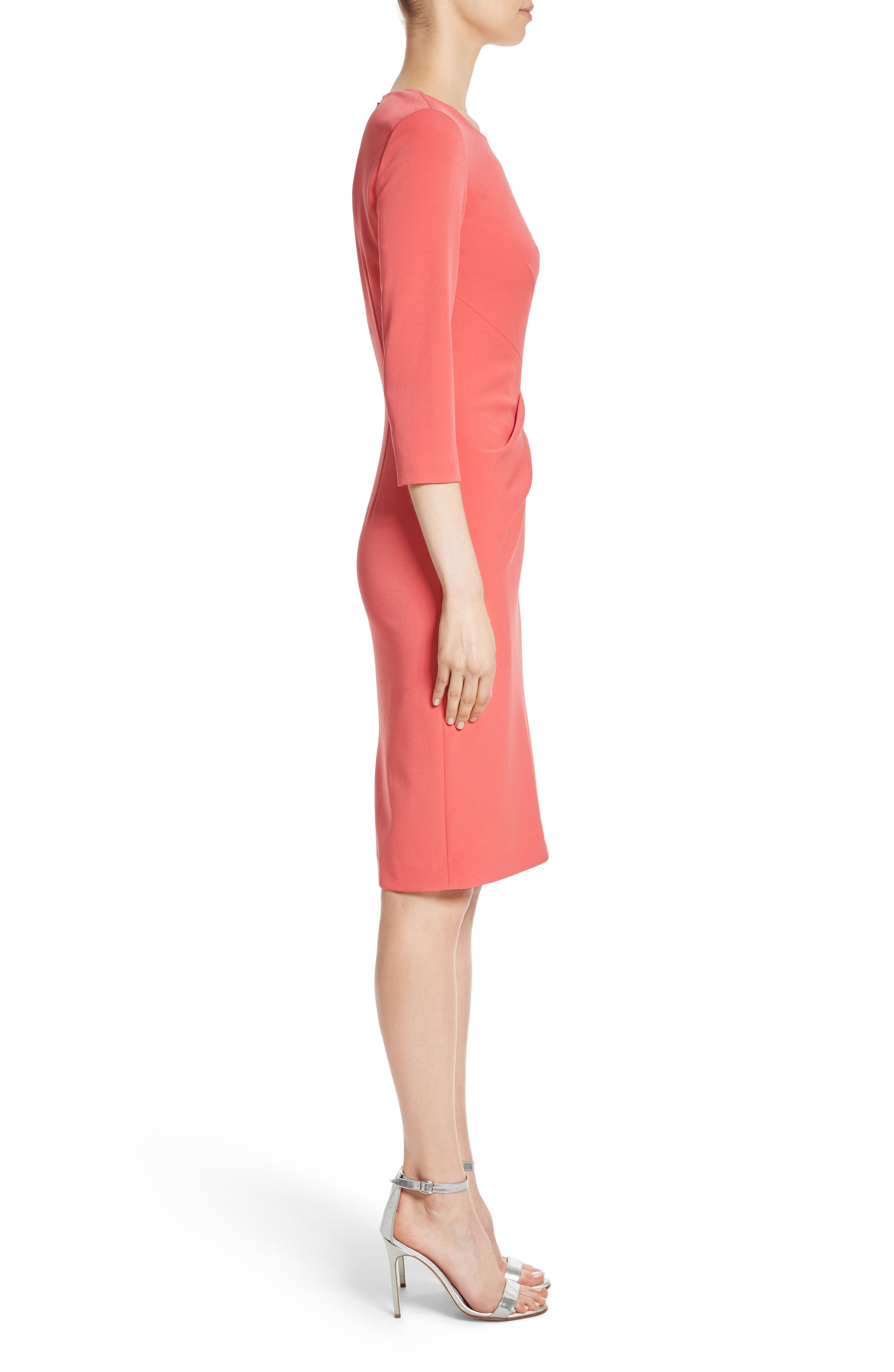 Stretch Crepe Dress,                             Alternate thumbnail 3, color,                             660