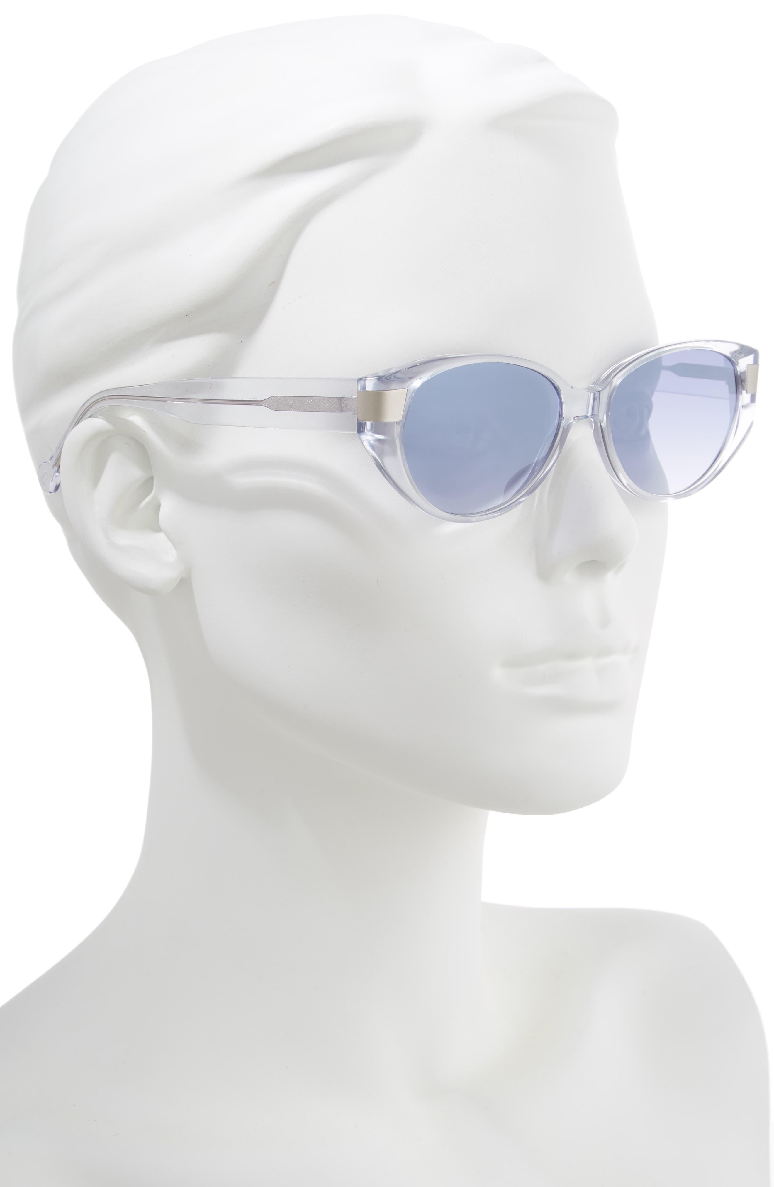 Southbeach 54mm Gradient Cat Eye Sunglasses,                             Alternate thumbnail 2, color,                             CRYSTAL