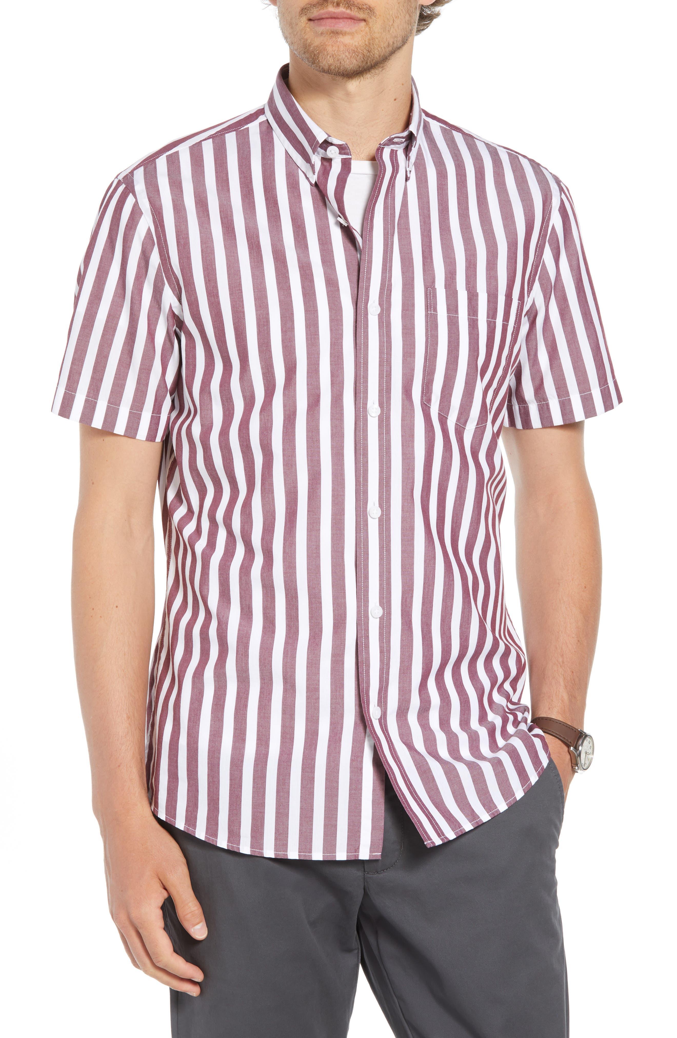 Ivy Trim Fit Stripe Sport Shirt,                         Main,                         color, 938