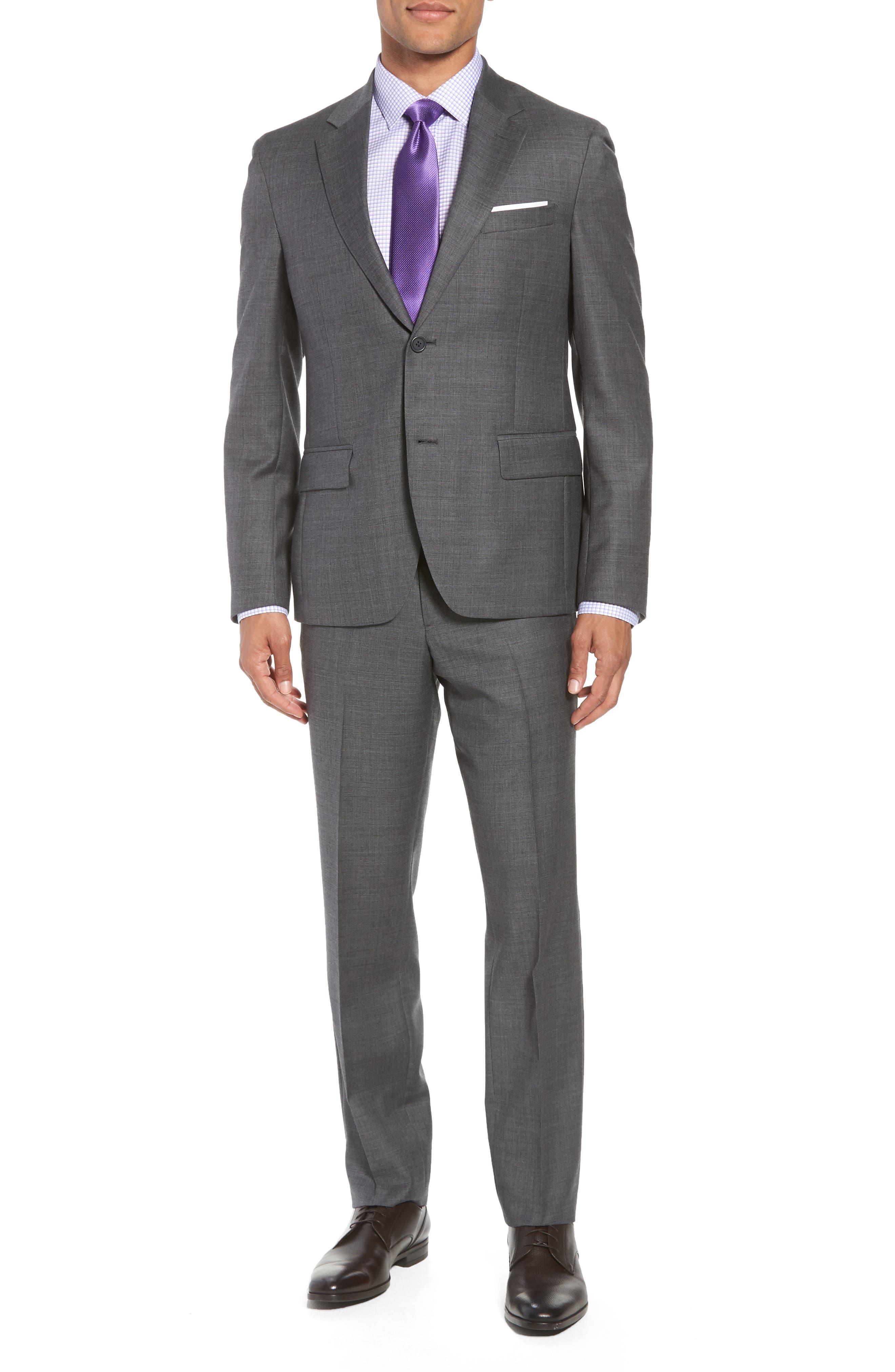 Trim Fit Sharkskin Wool Suit,                         Main,                         color, MID GREY