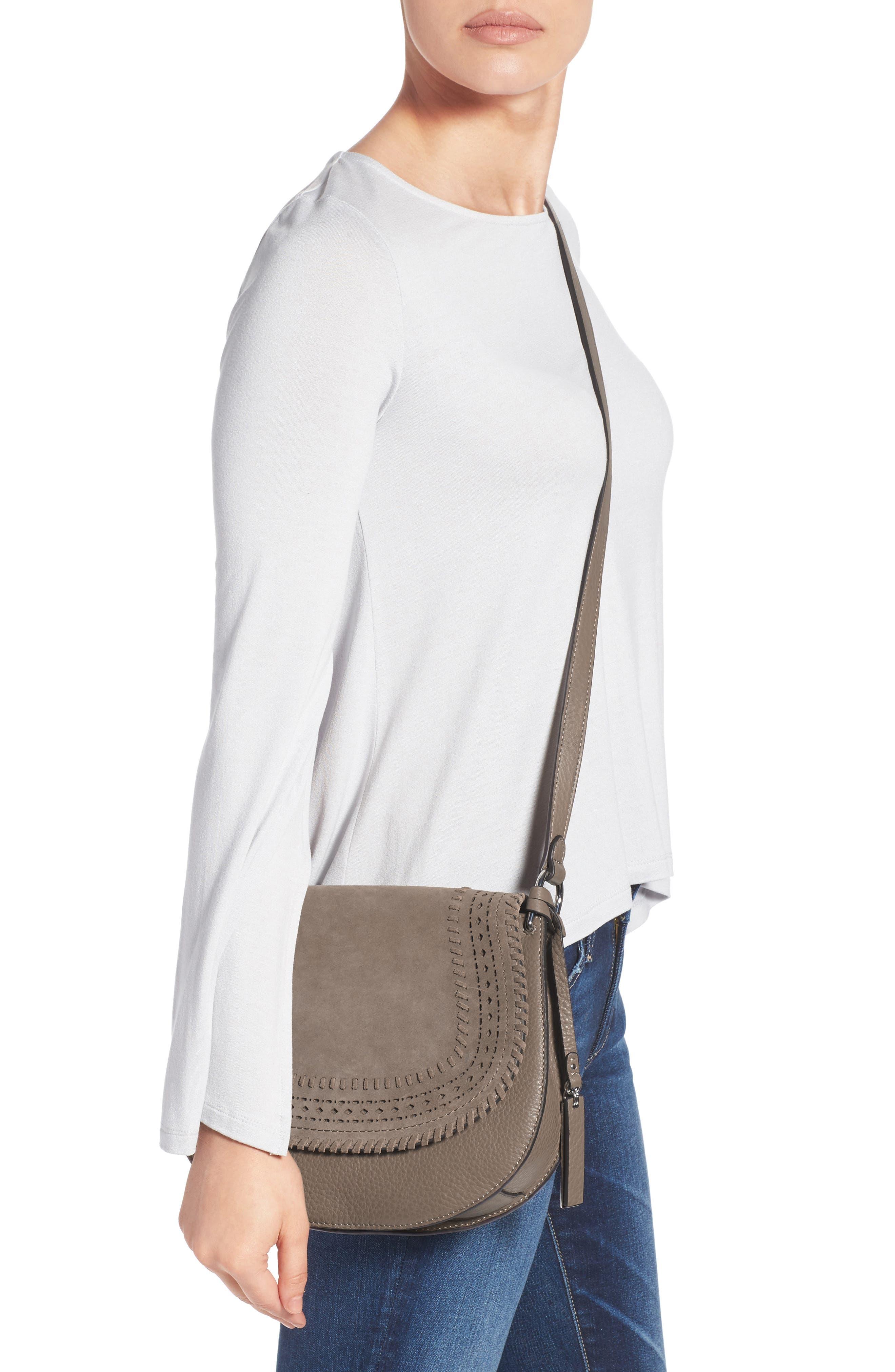 Kirie Suede & Leather Crossbody Saddle Bag,                             Alternate thumbnail 2, color,                             020