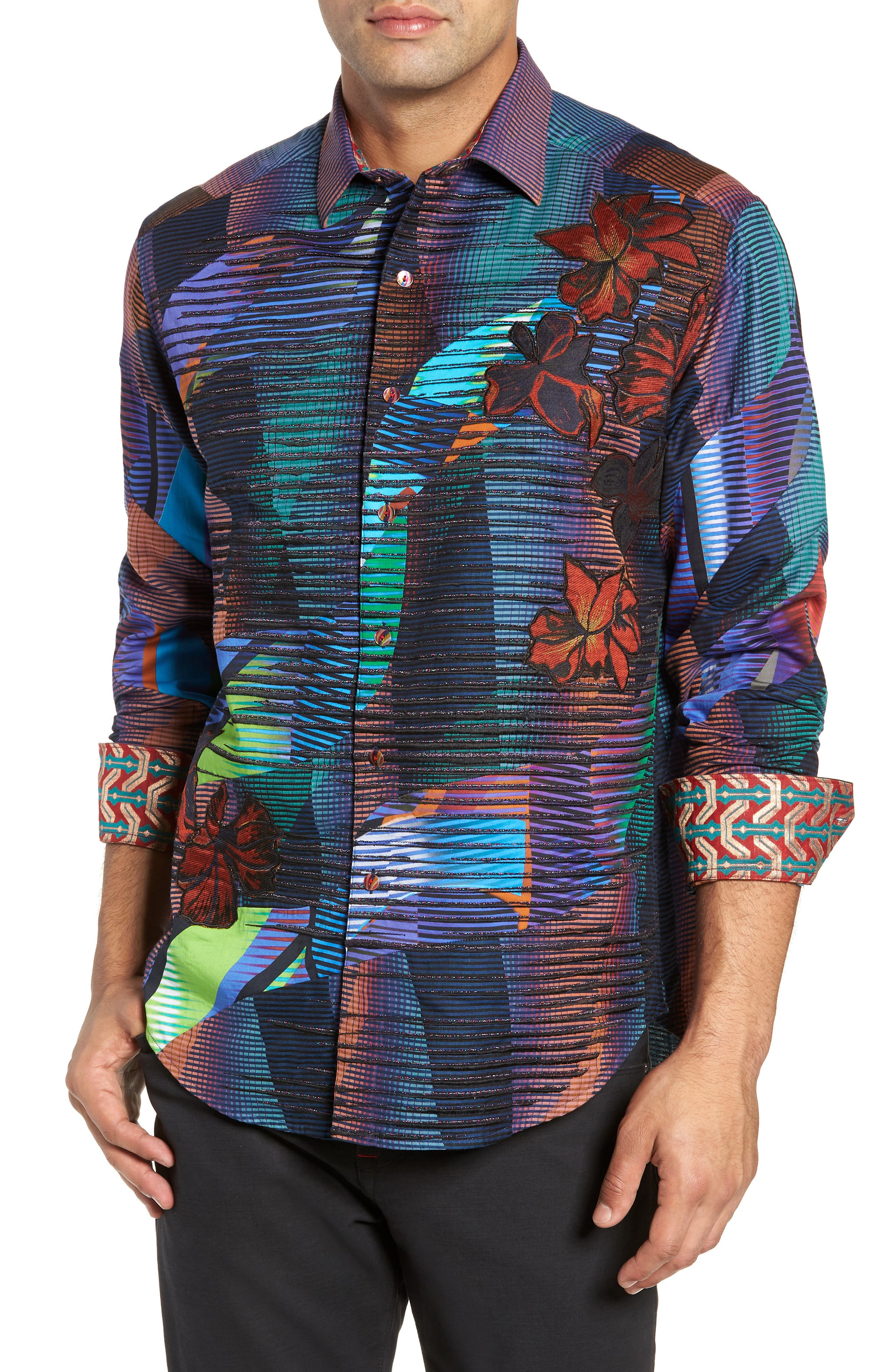 Canyon Flower Classic Fit Sport Shirt,                         Main,                         color, MULTI
