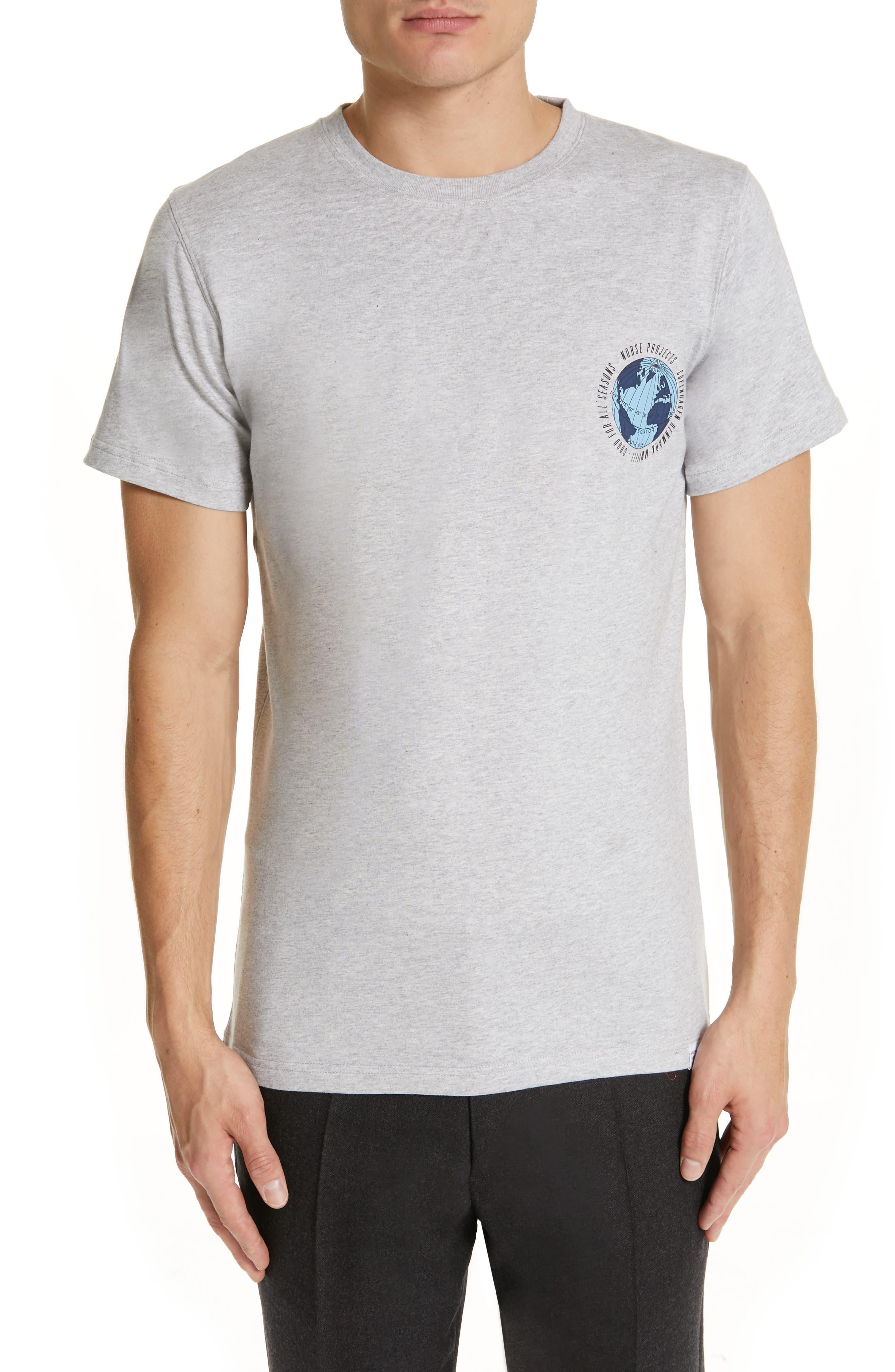 NORSE PROJECTS Niels Globe Logo T-Shirt in Light Grey Melange