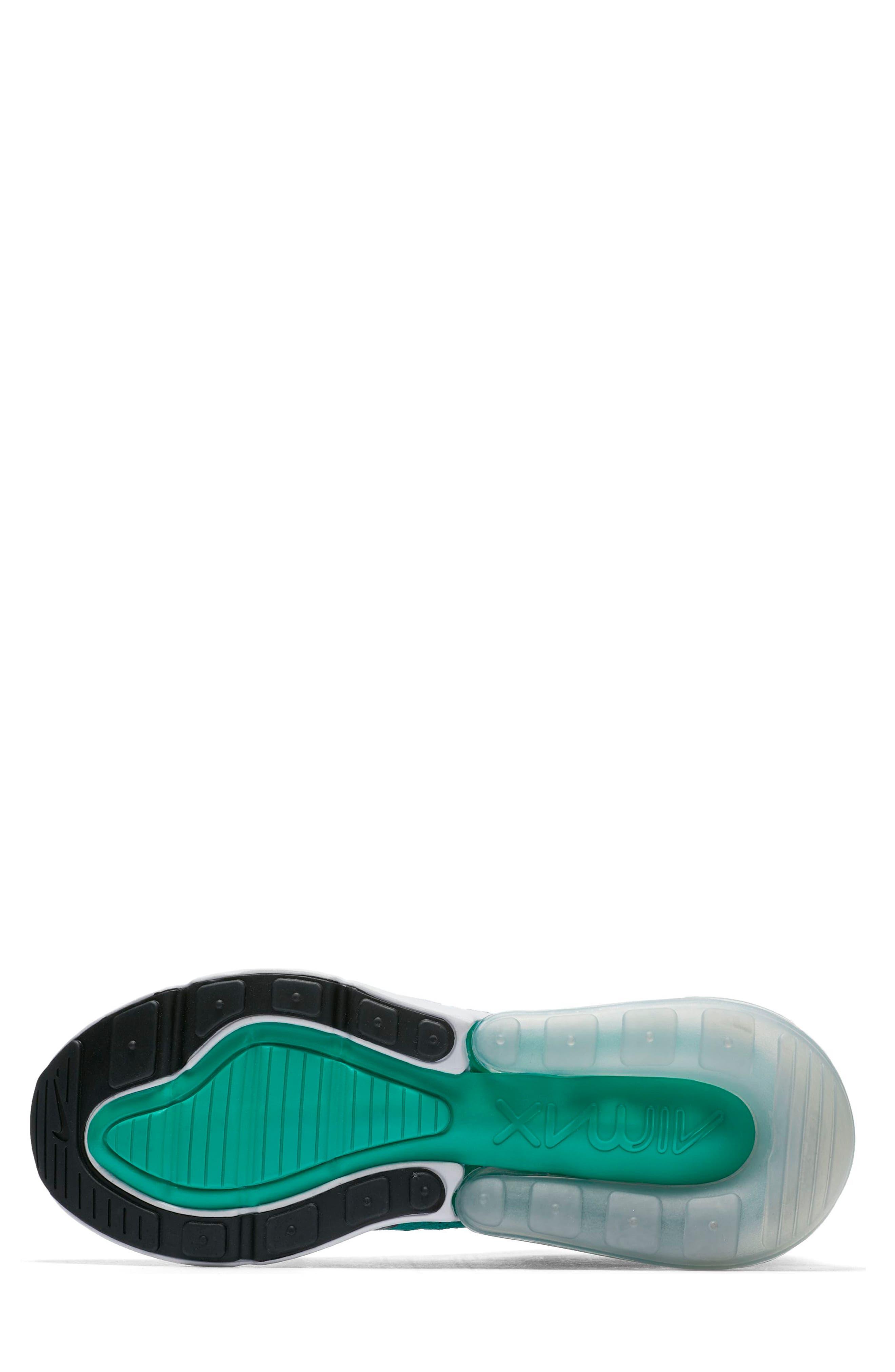 Air Max 270 Flyknit Sneaker,                             Alternate thumbnail 5, color,                             EMERALD/ BLACK/ PURE PLATINUM