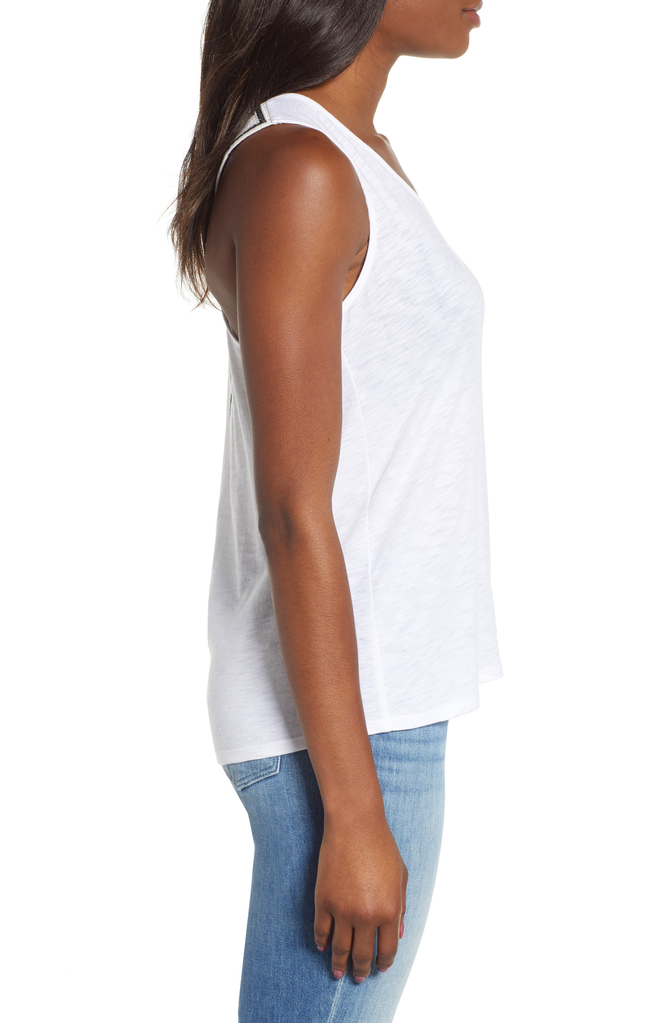 x Hi Sugarplum! Malibu Embroidered Racerback Tank Top,                             Alternate thumbnail 3, color,                             WHITE W/ BLACK/ WHITE