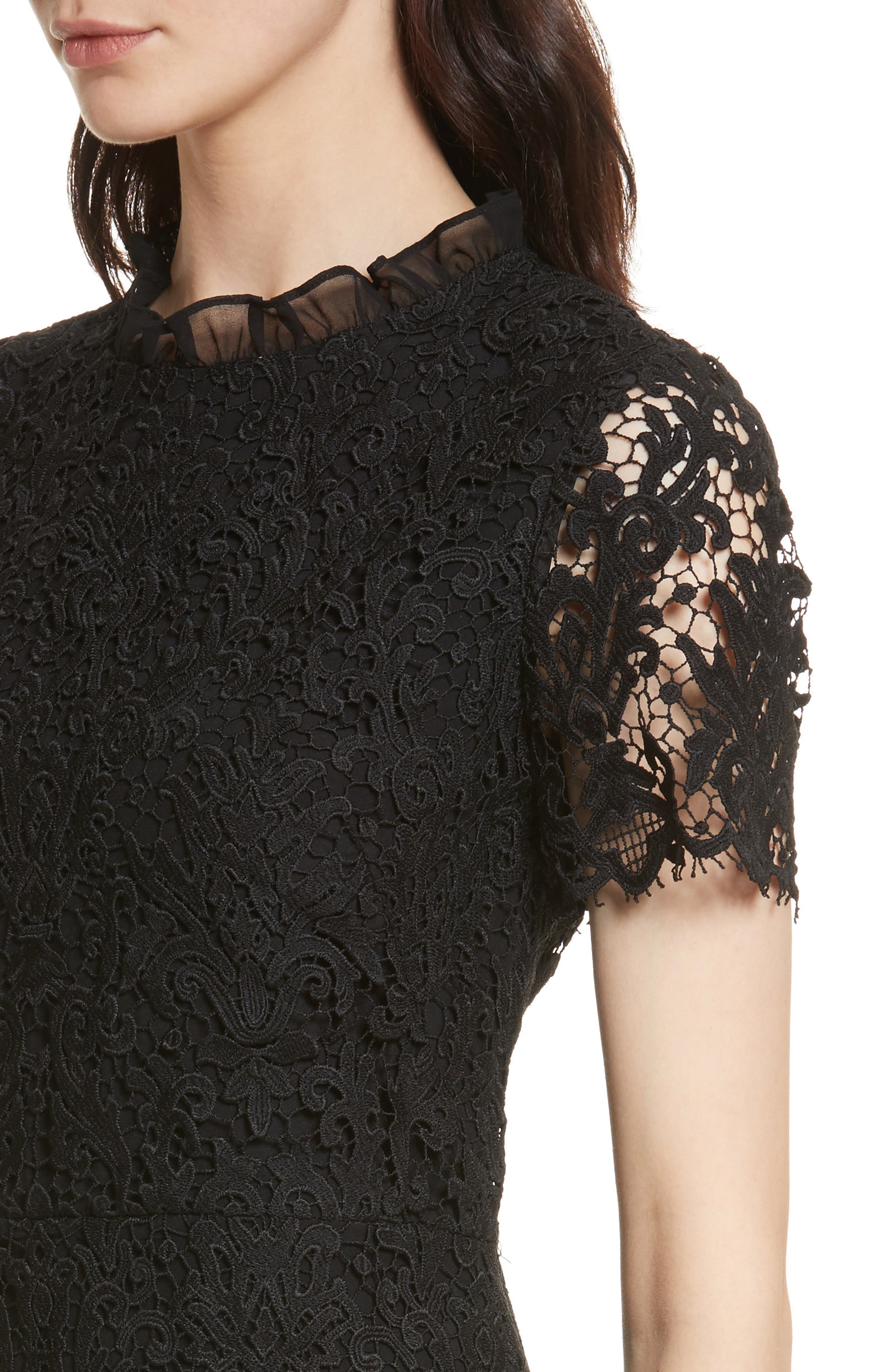 tapestry lace dress,                             Alternate thumbnail 4, color,                             001