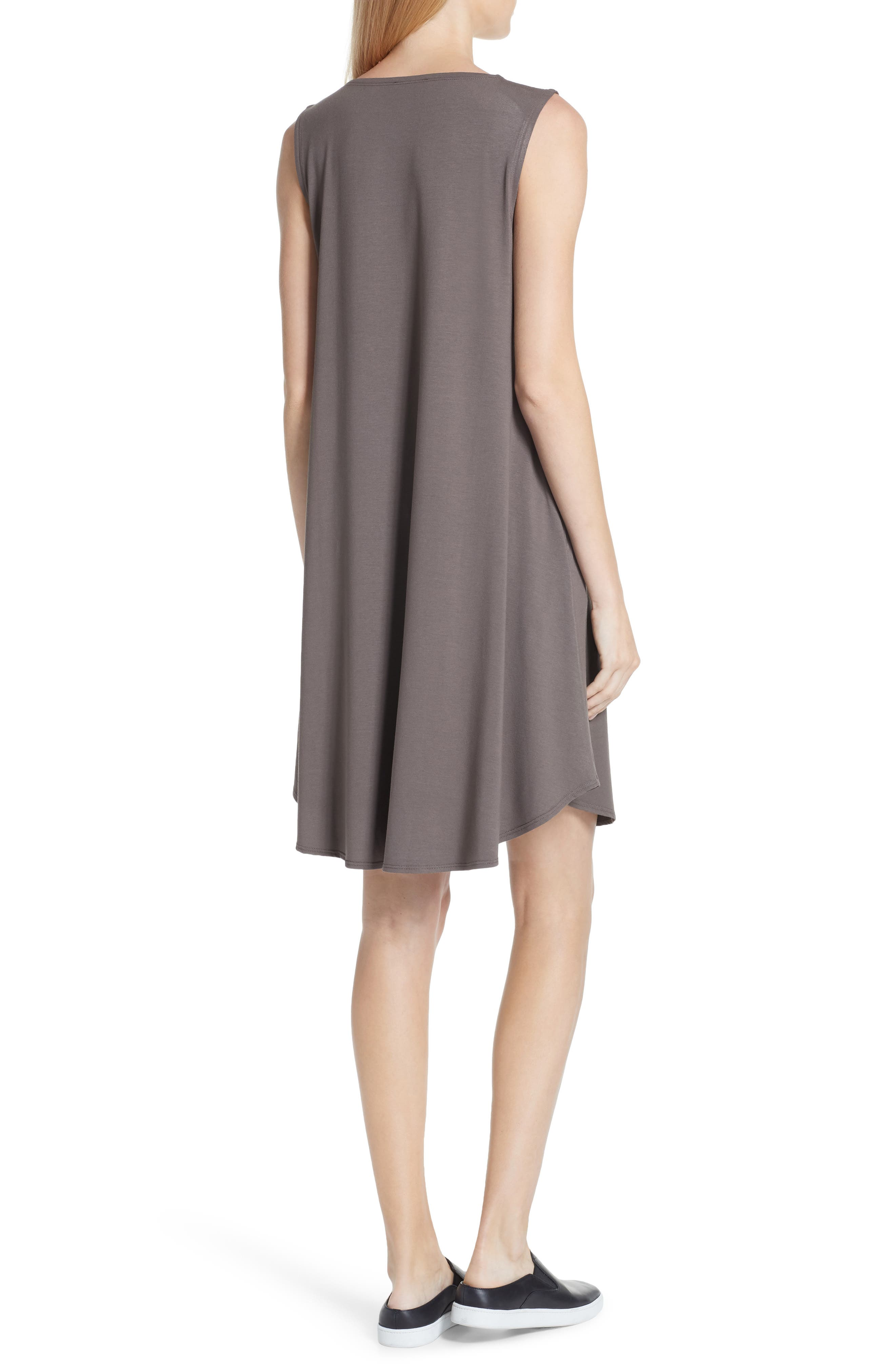 EILEEN FISHER,                             Jersey Jewel Neck Flare Dress,                             Alternate thumbnail 2, color,                             245