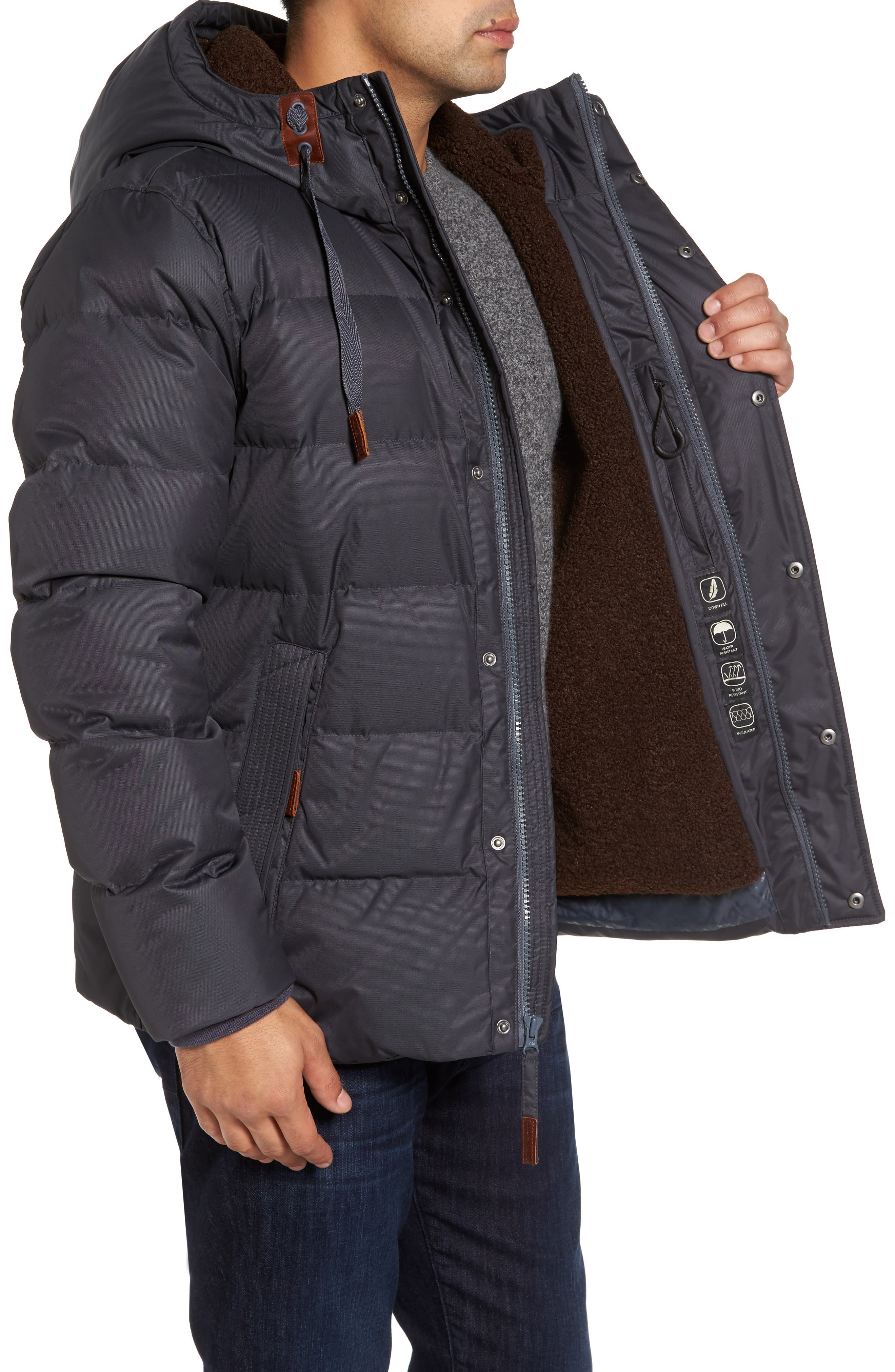 Groton Slim Down Jacket with Faux Shearling Lining,                             Alternate thumbnail 6, color,