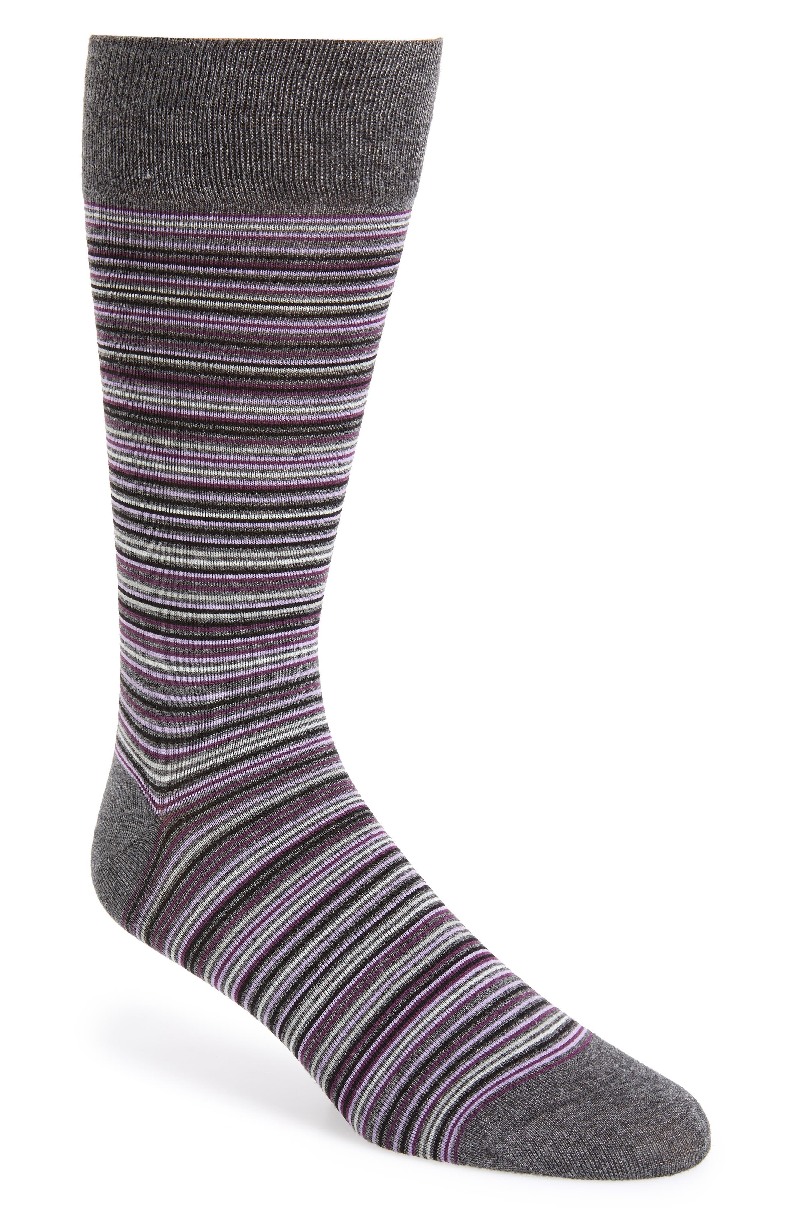 Multistripe Crew Socks,                             Main thumbnail 1, color,                             CHARCOAL HEATHER/ PURPLE