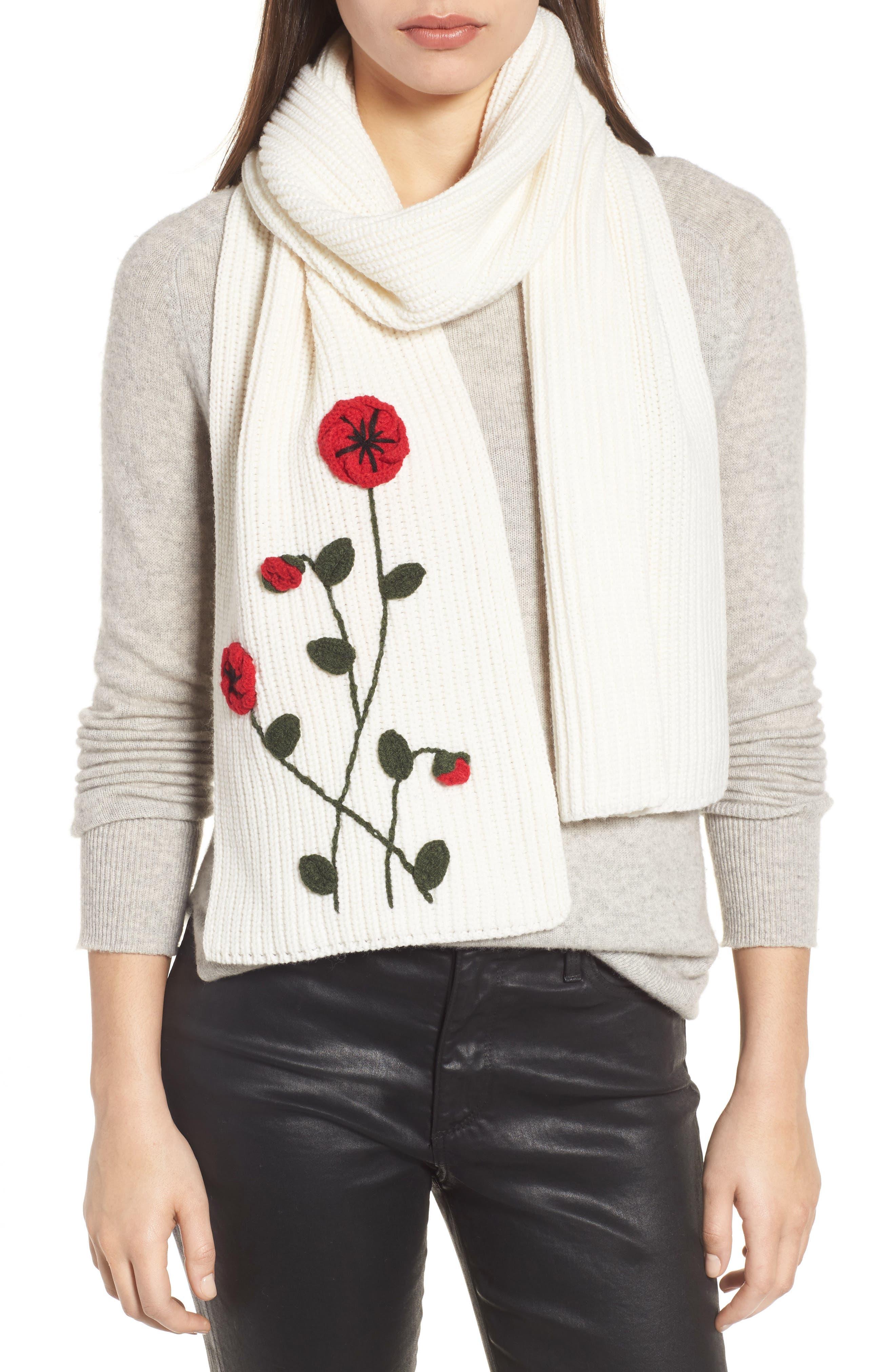 crochet poppy scarf,                             Main thumbnail 2, color,