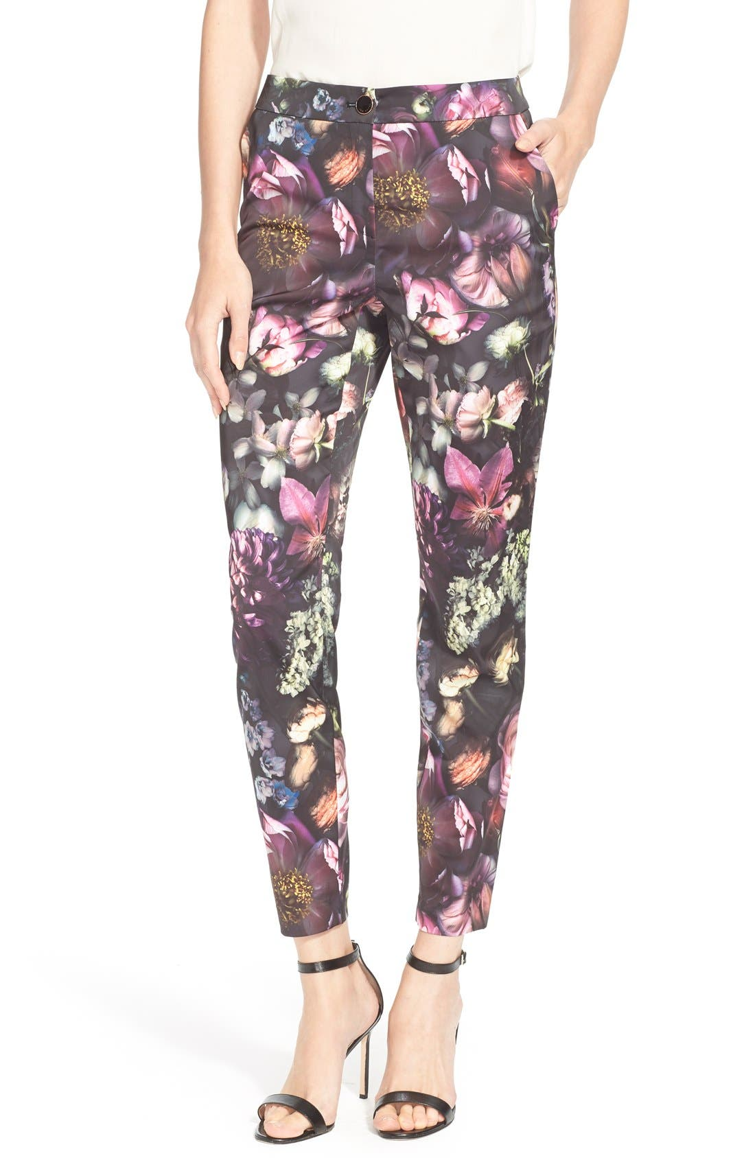 TED BAKER LONDON 'Anuja' Floral Print Trousers, Main, color, 021