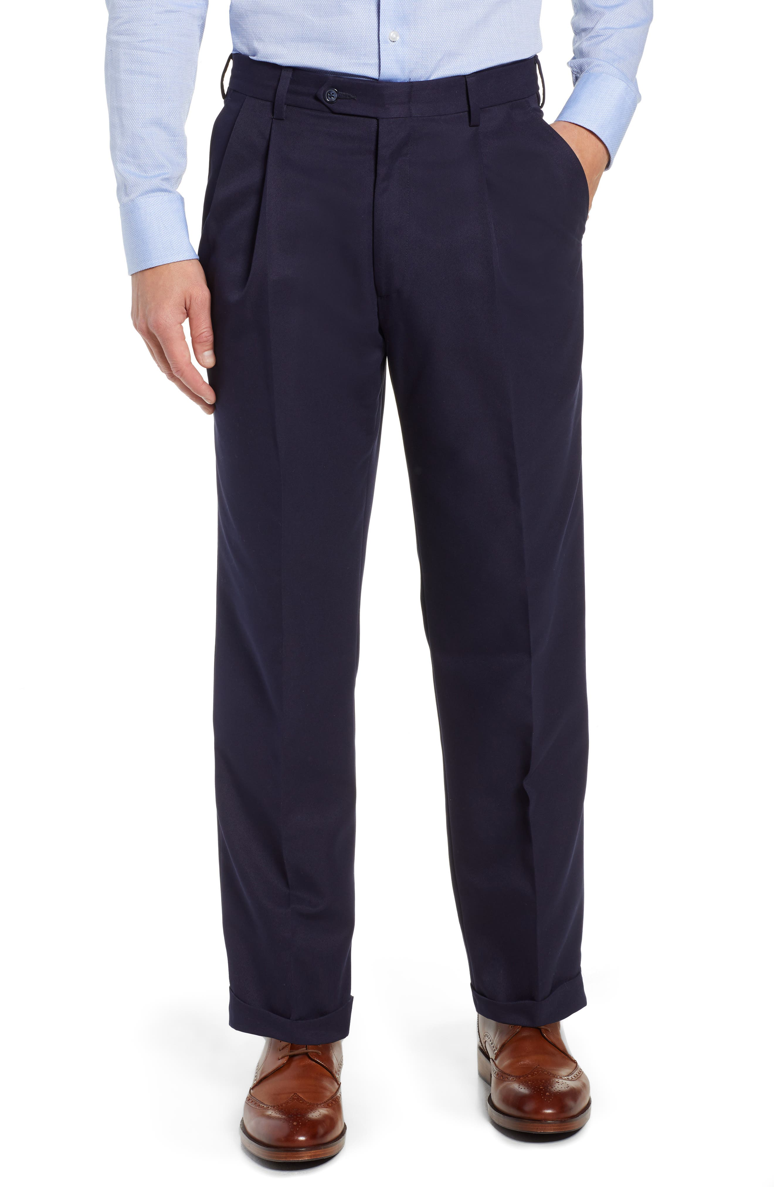 Classic Fit Pleated Microfiber Performance Trousers,                         Main,                         color, NAVY