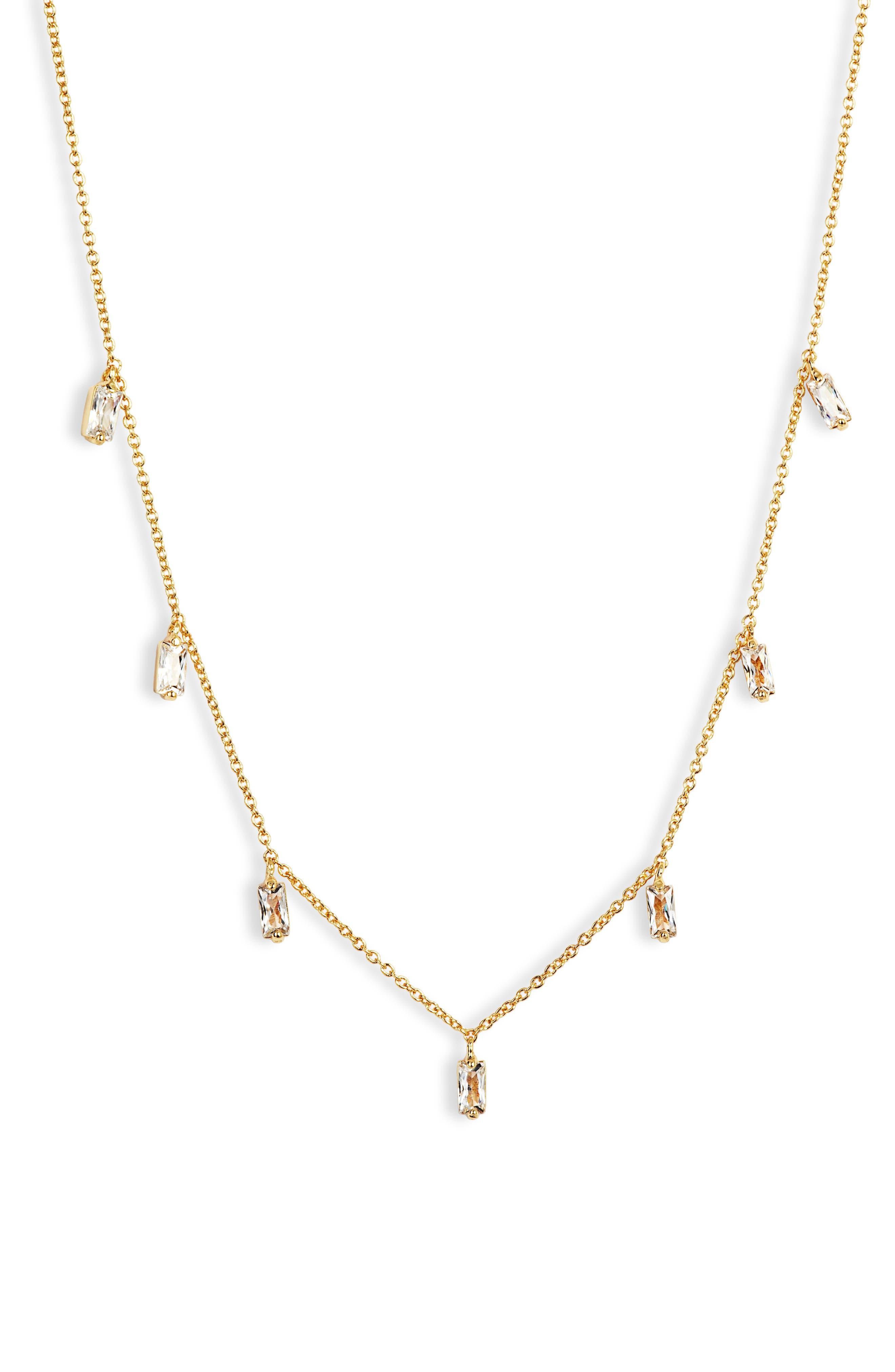 GORJANA Amara Crystal Fringe Necklace, Main, color, JEWEL/ GOLD