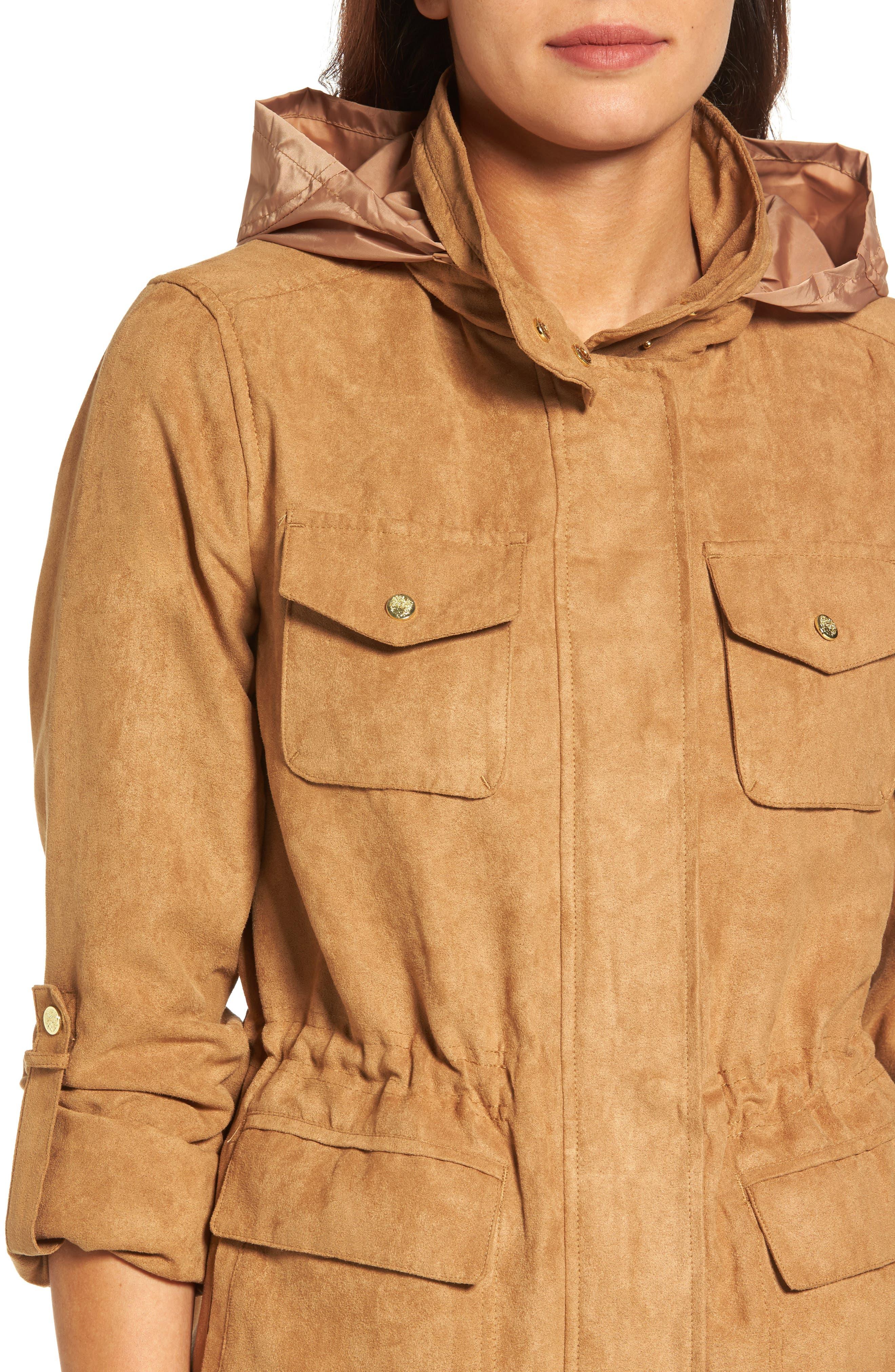 Faux Suede Utility Jacket,                             Alternate thumbnail 4, color,                             252