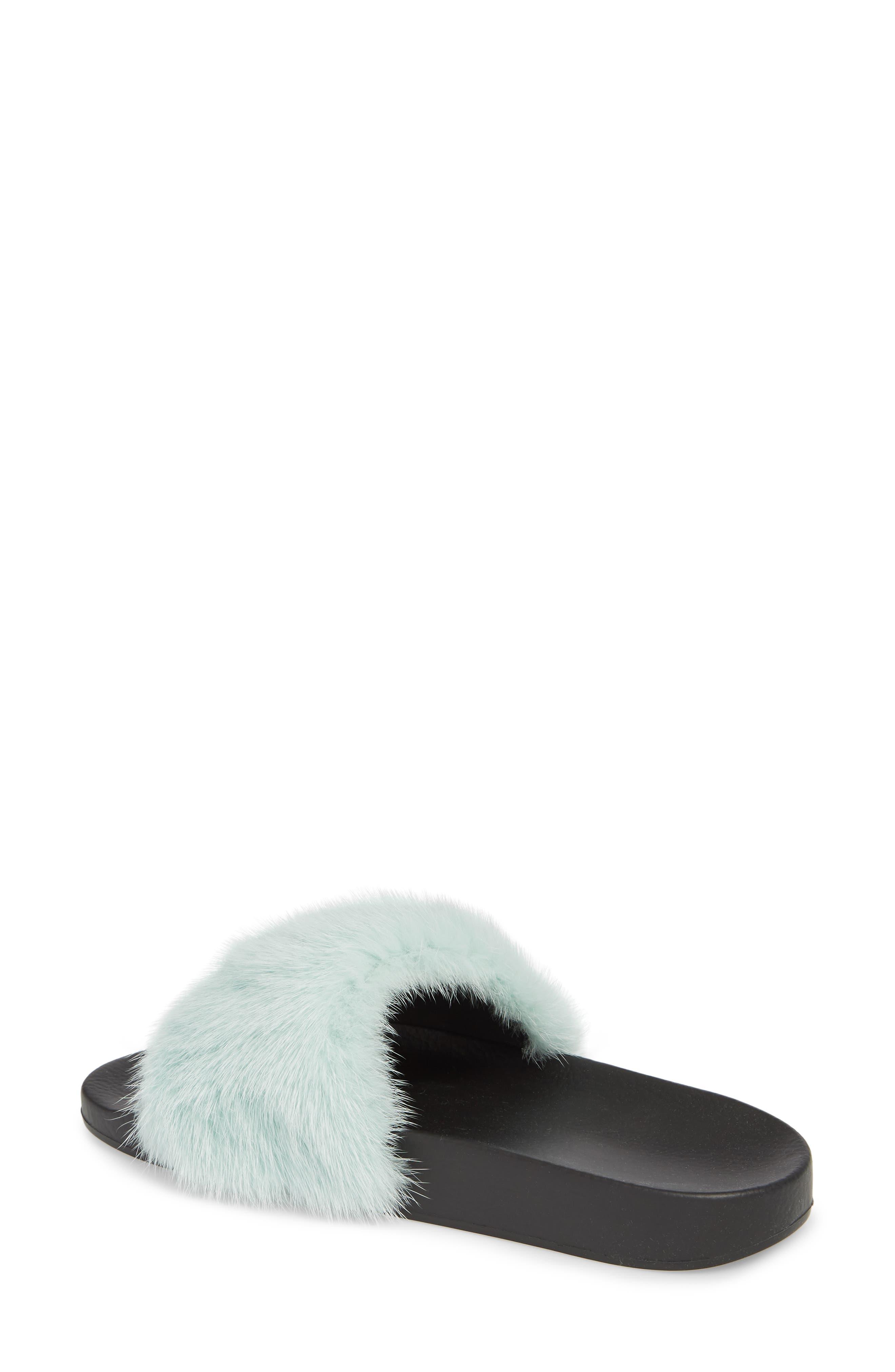 Genuine Mink Fur Slide Sandal,                             Alternate thumbnail 2, color,                             423
