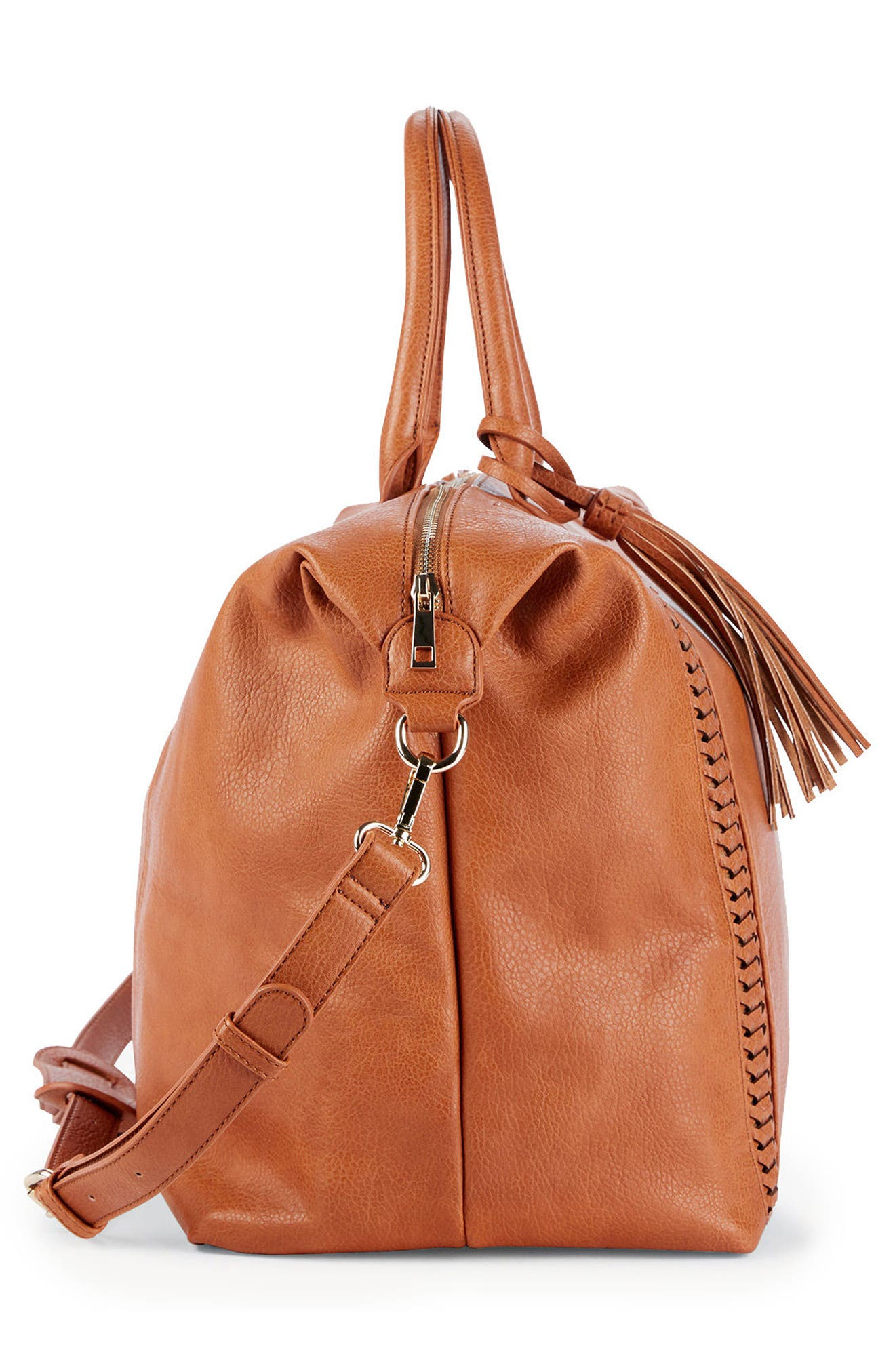 Tara Whipstitched Faux Leather Weekend Bag,                             Alternate thumbnail 10, color,
