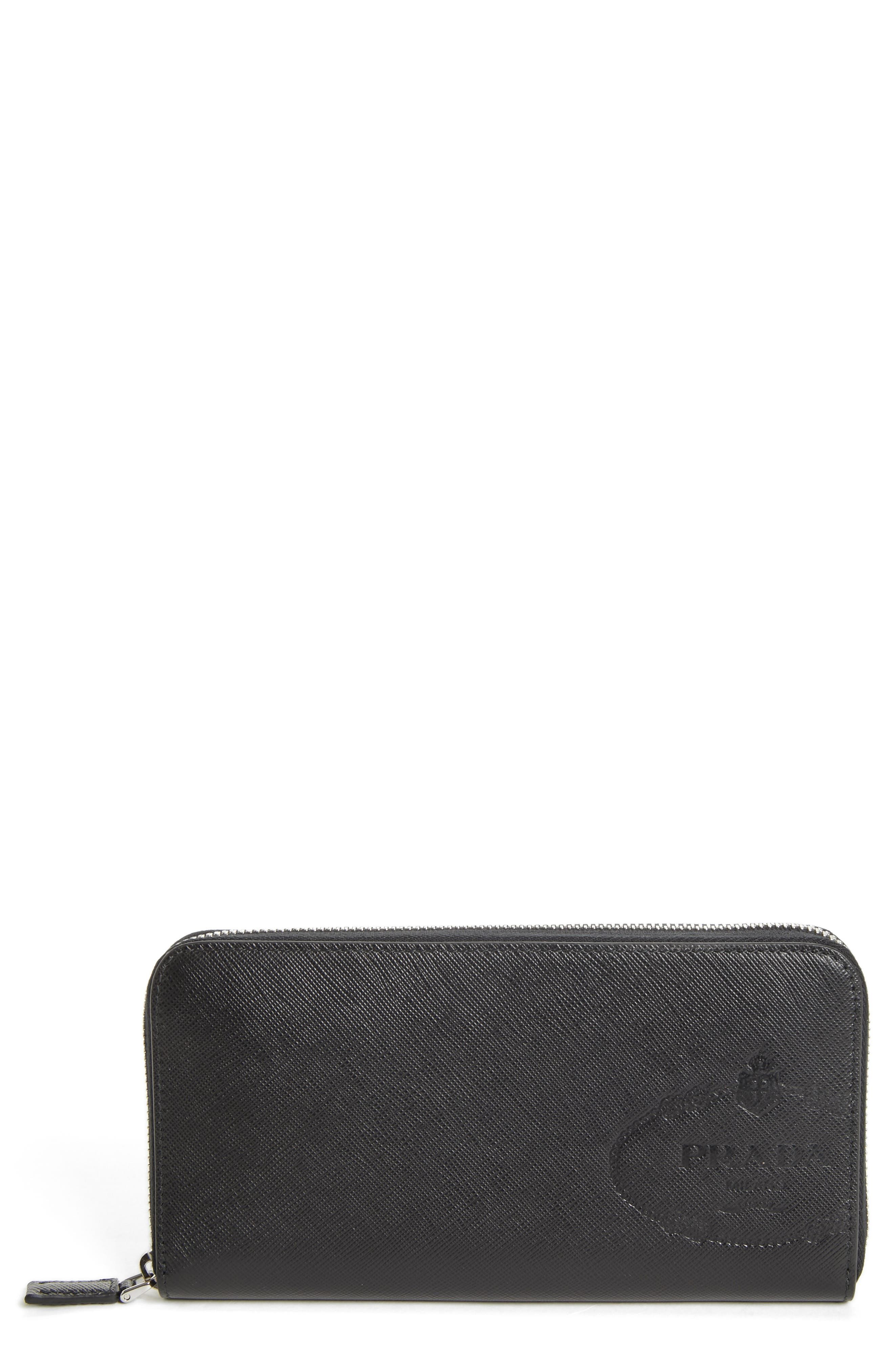 Long Zip Around Saffiano Leather Wallet,                         Main,                         color, BLACK