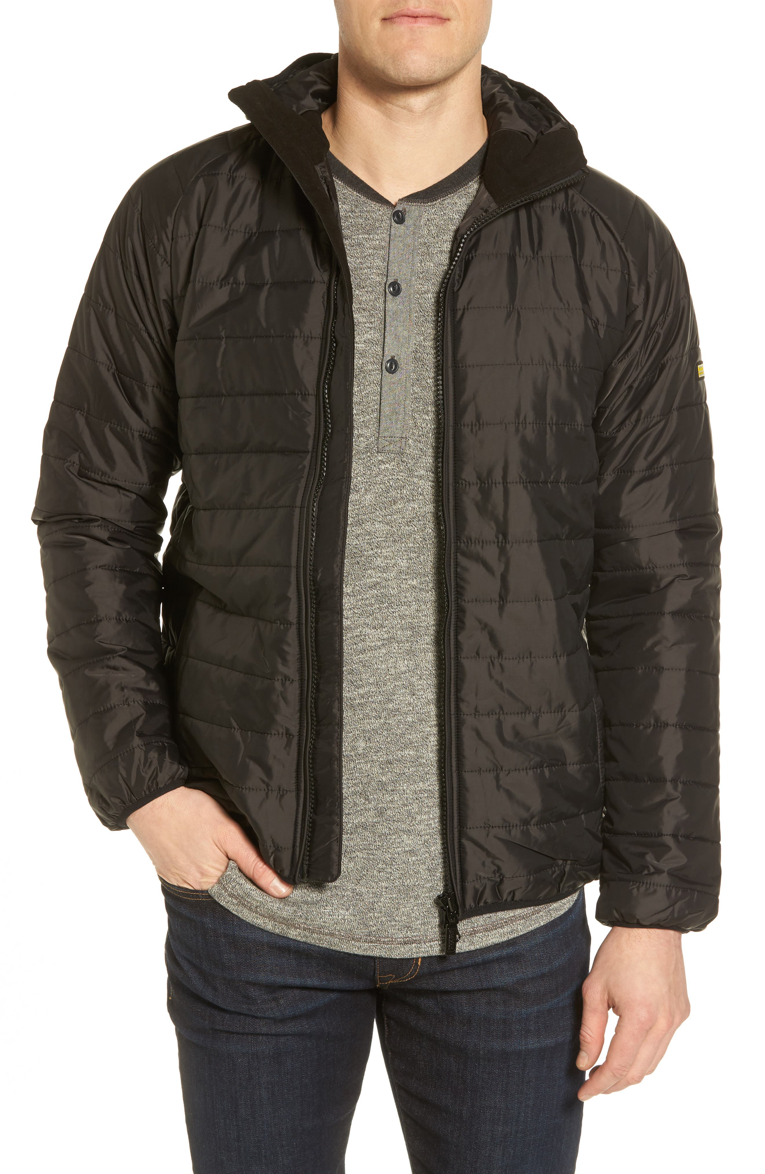 International Level Slim Fit Quilted Hooded Jacket,                             Main thumbnail 1, color,                             001
