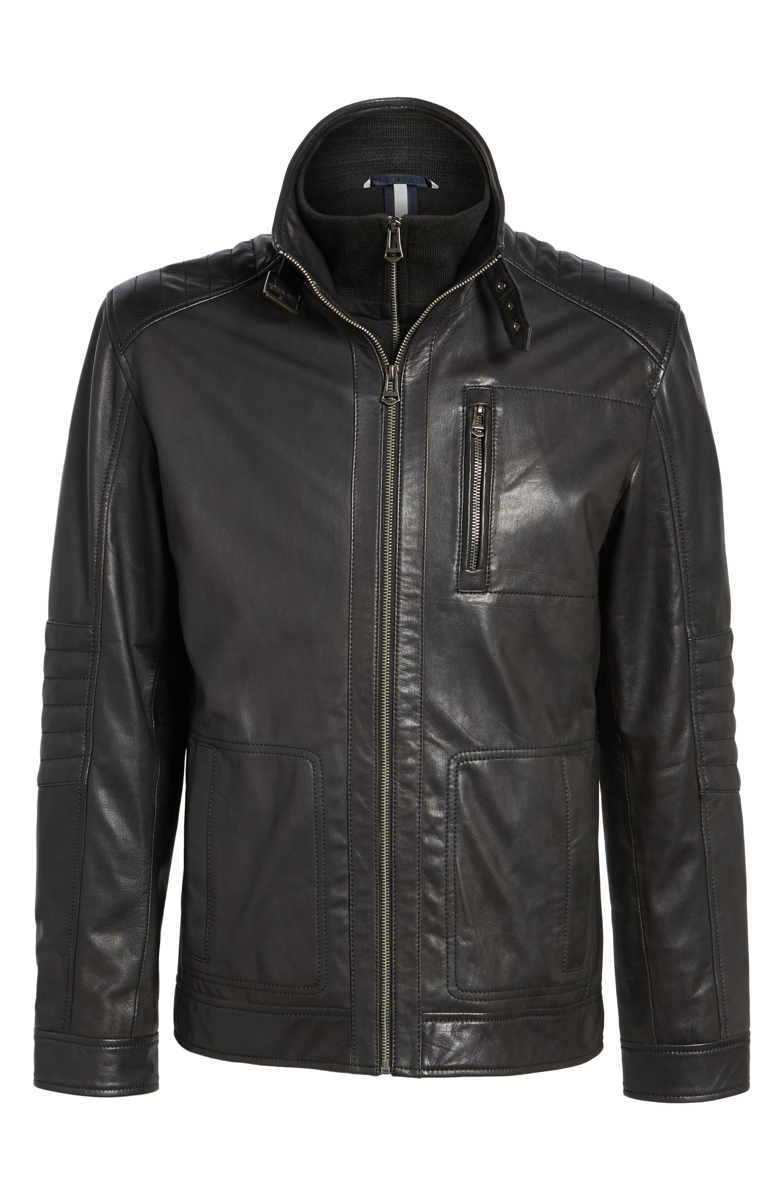 COLE HAAN,                             Washed Leather Moto Jacket with Knit Bib,                             Alternate thumbnail 5, color,                             001