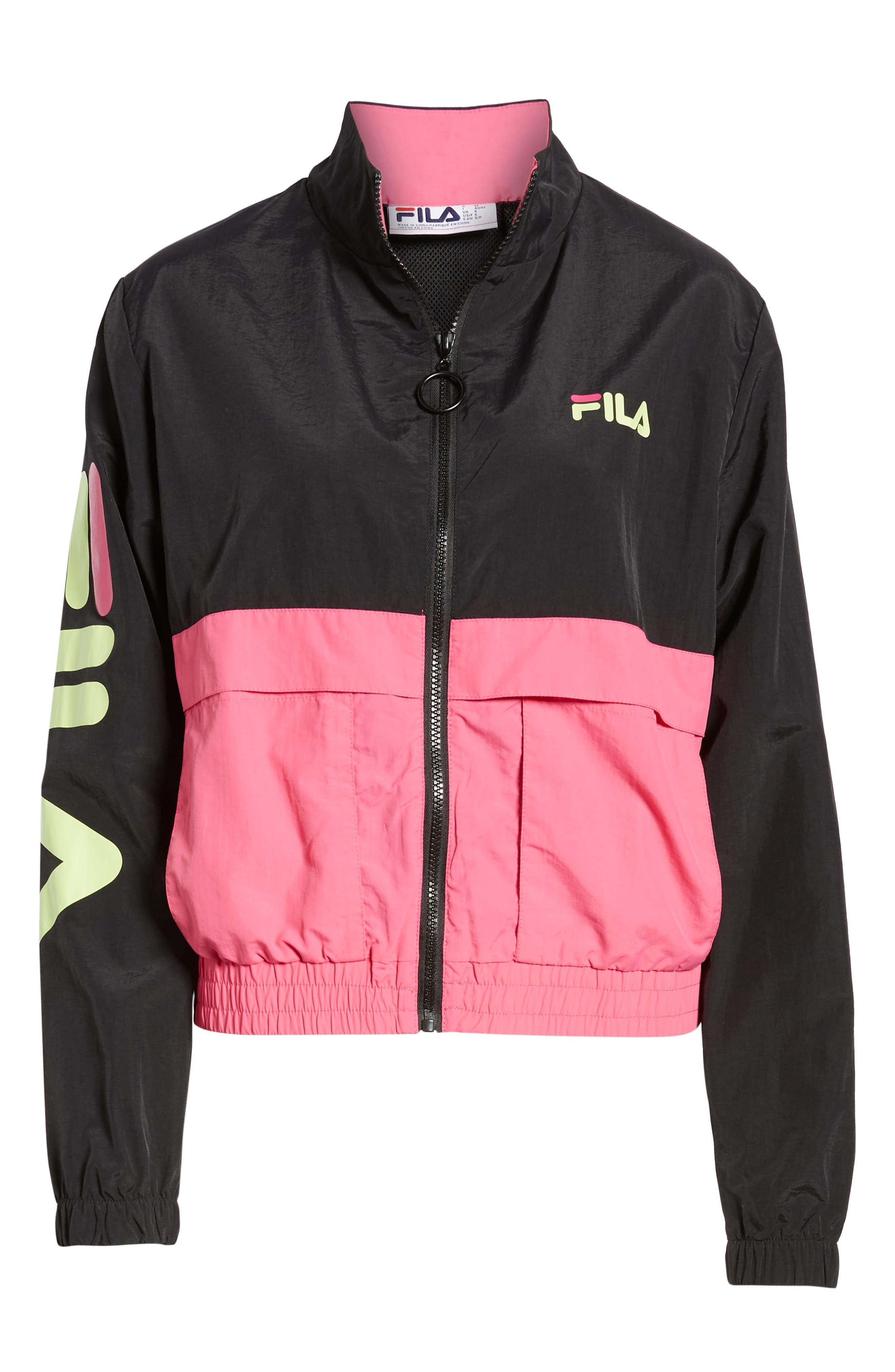 Miguela Colorblock Windbreaker Jacket,                             Alternate thumbnail 6, color,                             BLACK