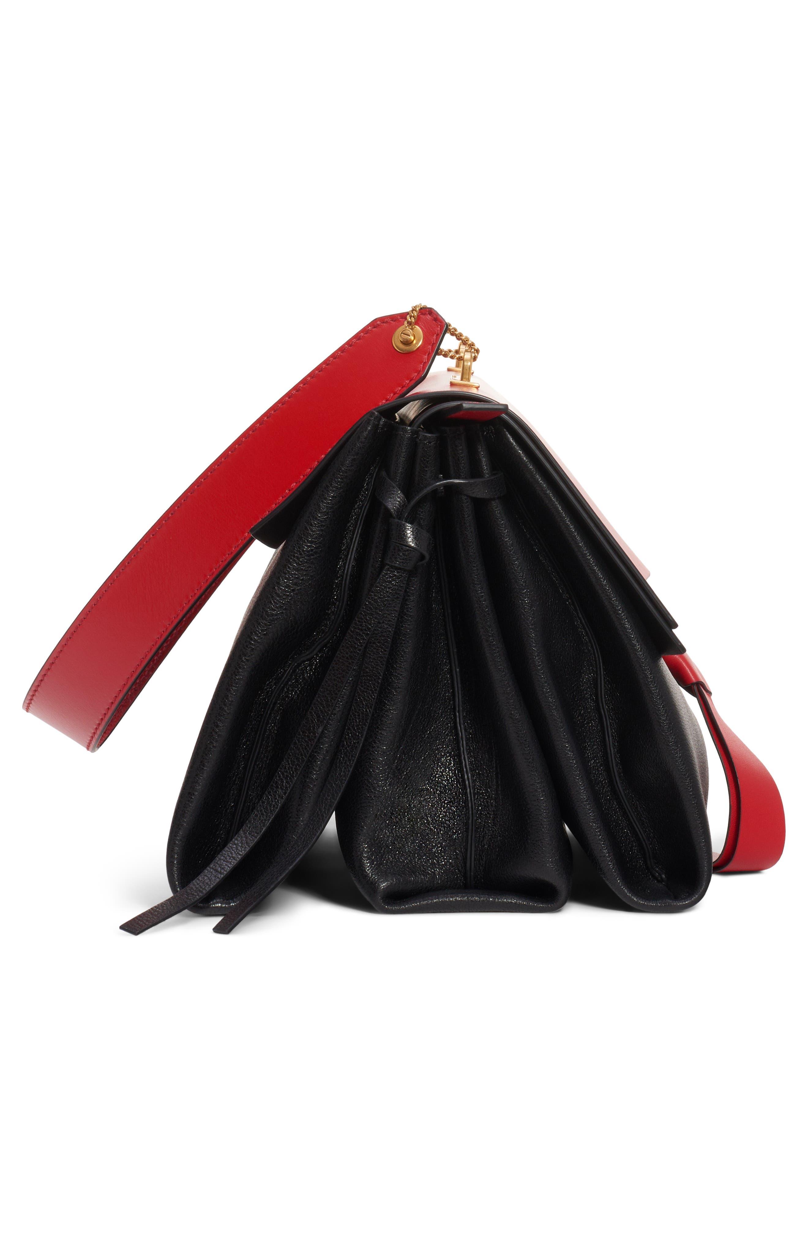 Medium V-Ring Leather Shoulder Bag,                             Alternate thumbnail 4, color,                             ROUGE PUR-CERISE/ NERO