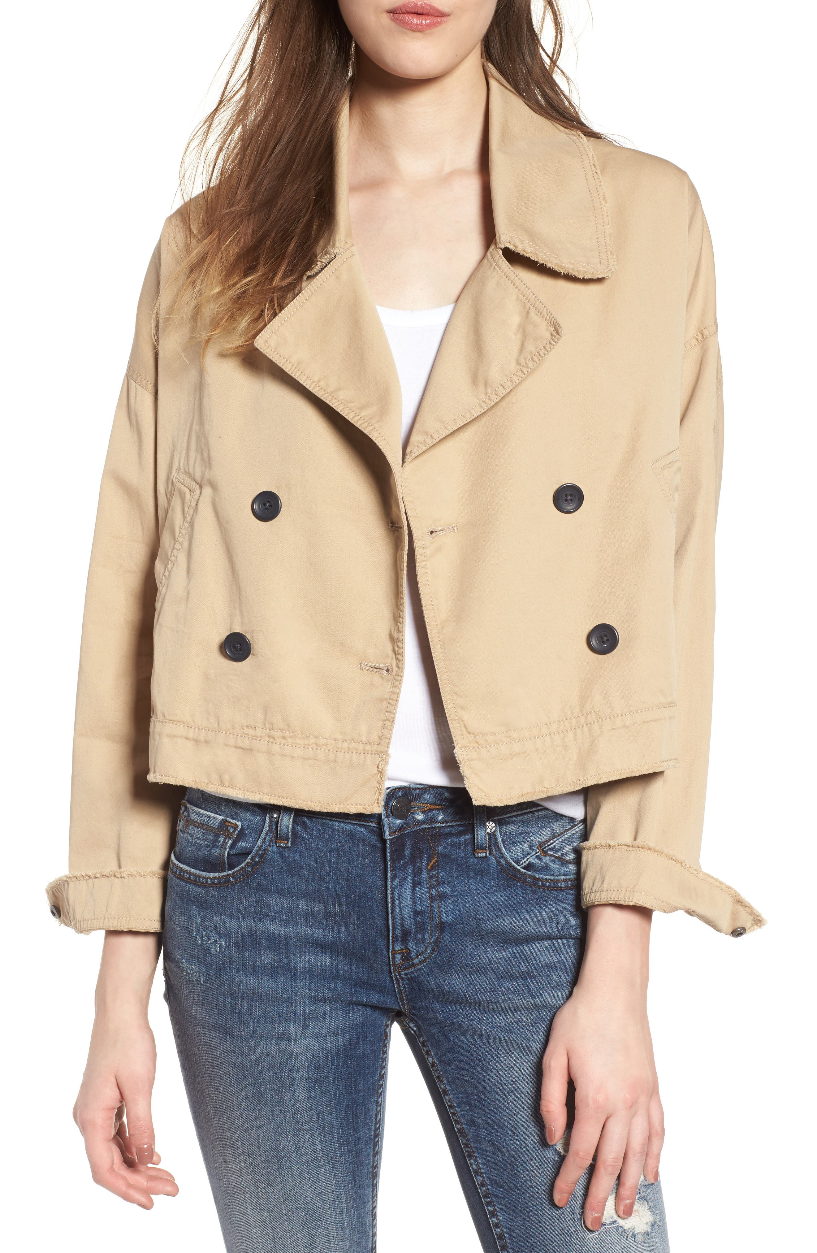 Crop Trench Coat,                         Main,                         color, 260