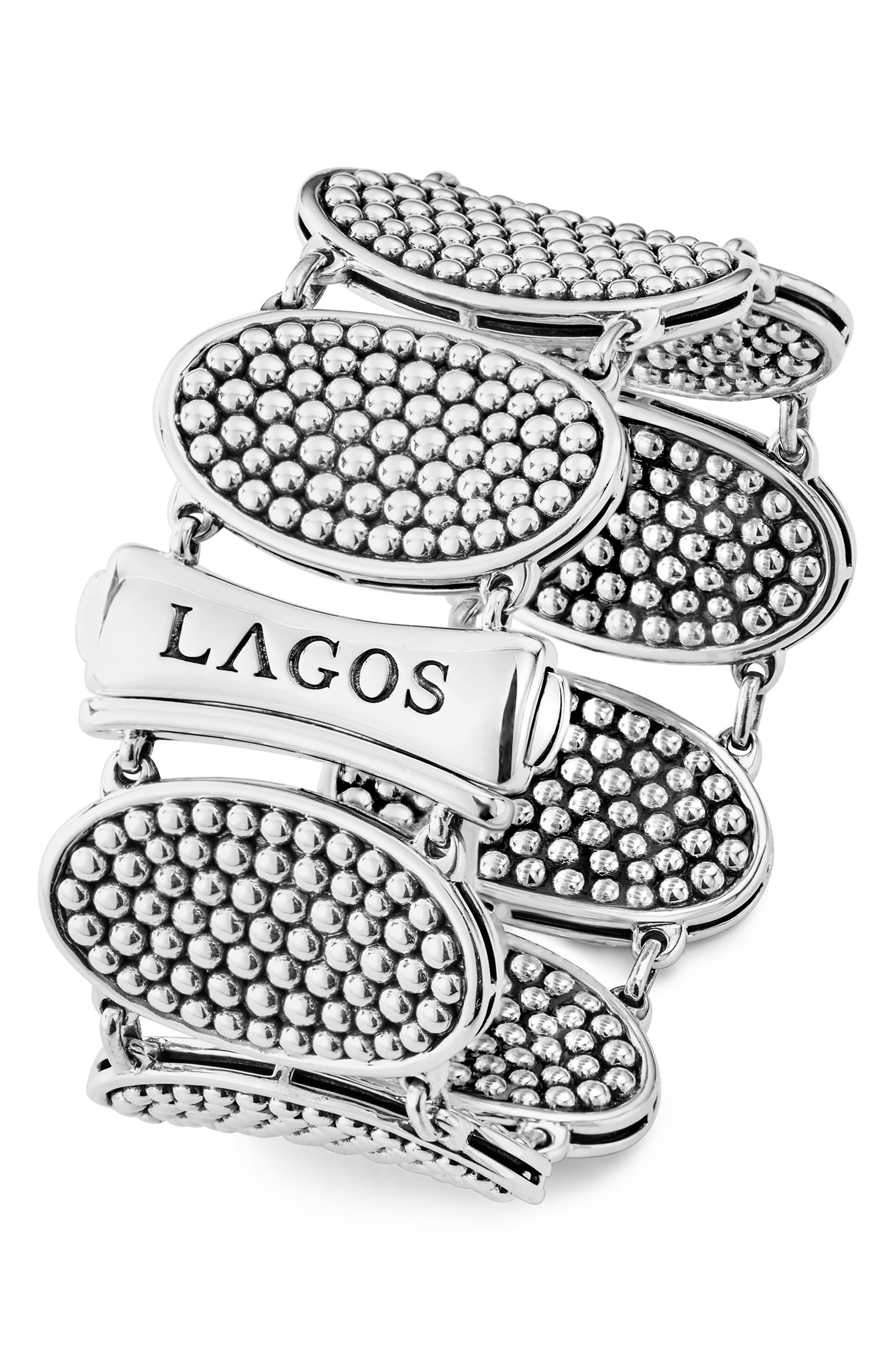 Signature Caviar Ellipse Link Bracelet,                             Alternate thumbnail 2, color,                             SILVER