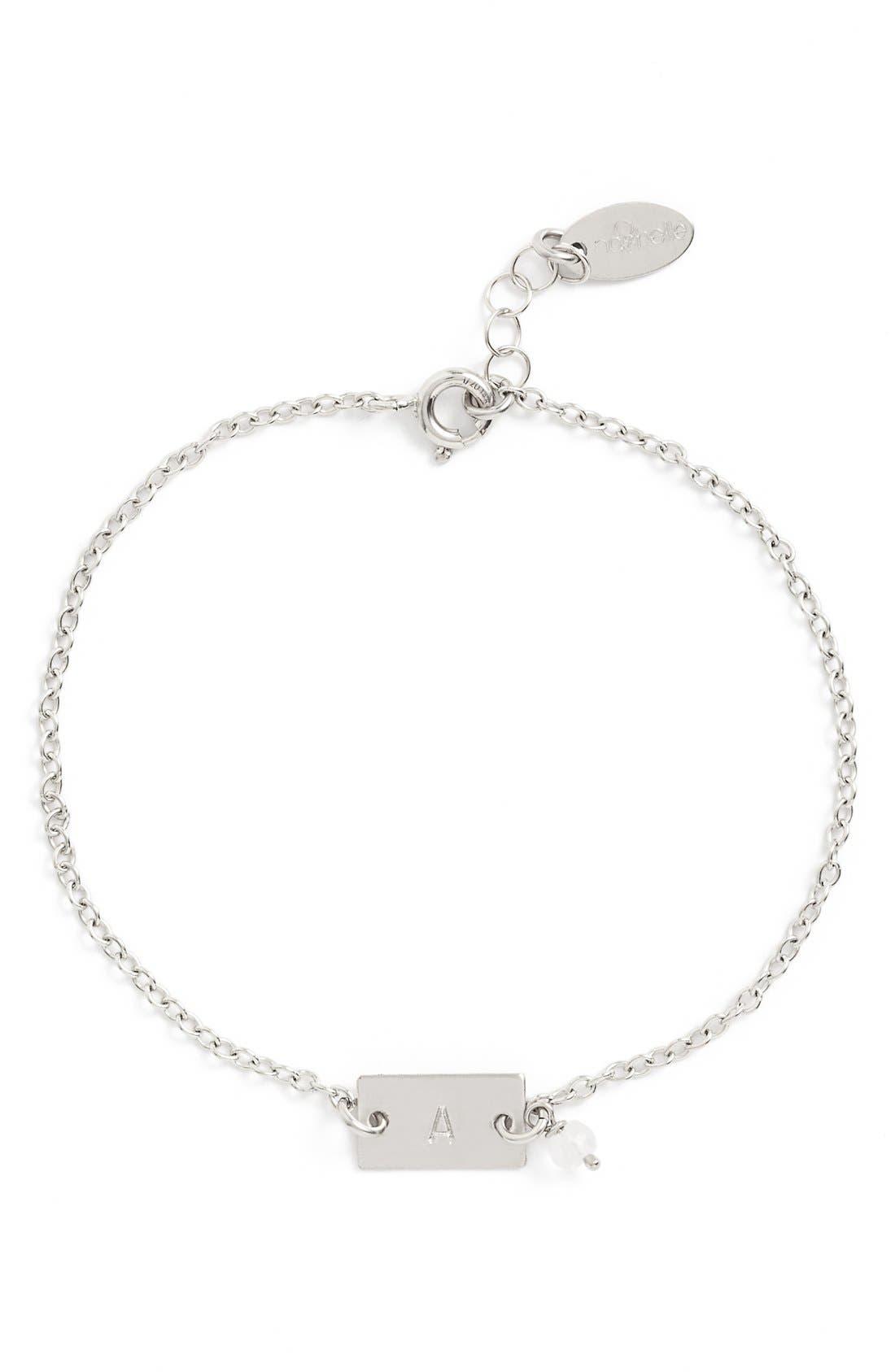 Shaka Initial Sterling Silver Bar Bracelet,                             Main thumbnail 1, color,                             040