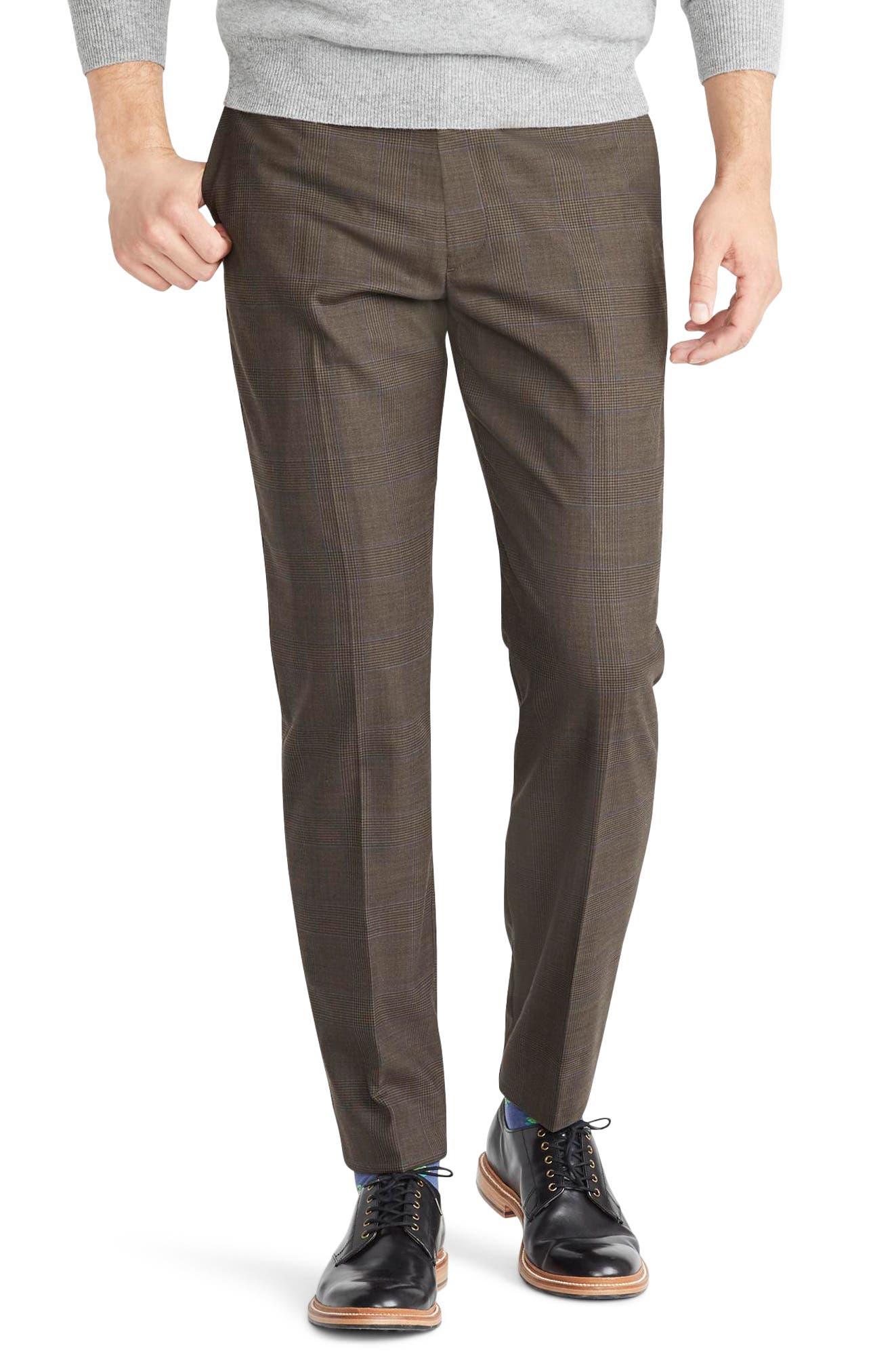 Ludlow Slim Fit Glen Plaid Wool Blend Pants,                         Main,                         color, 300