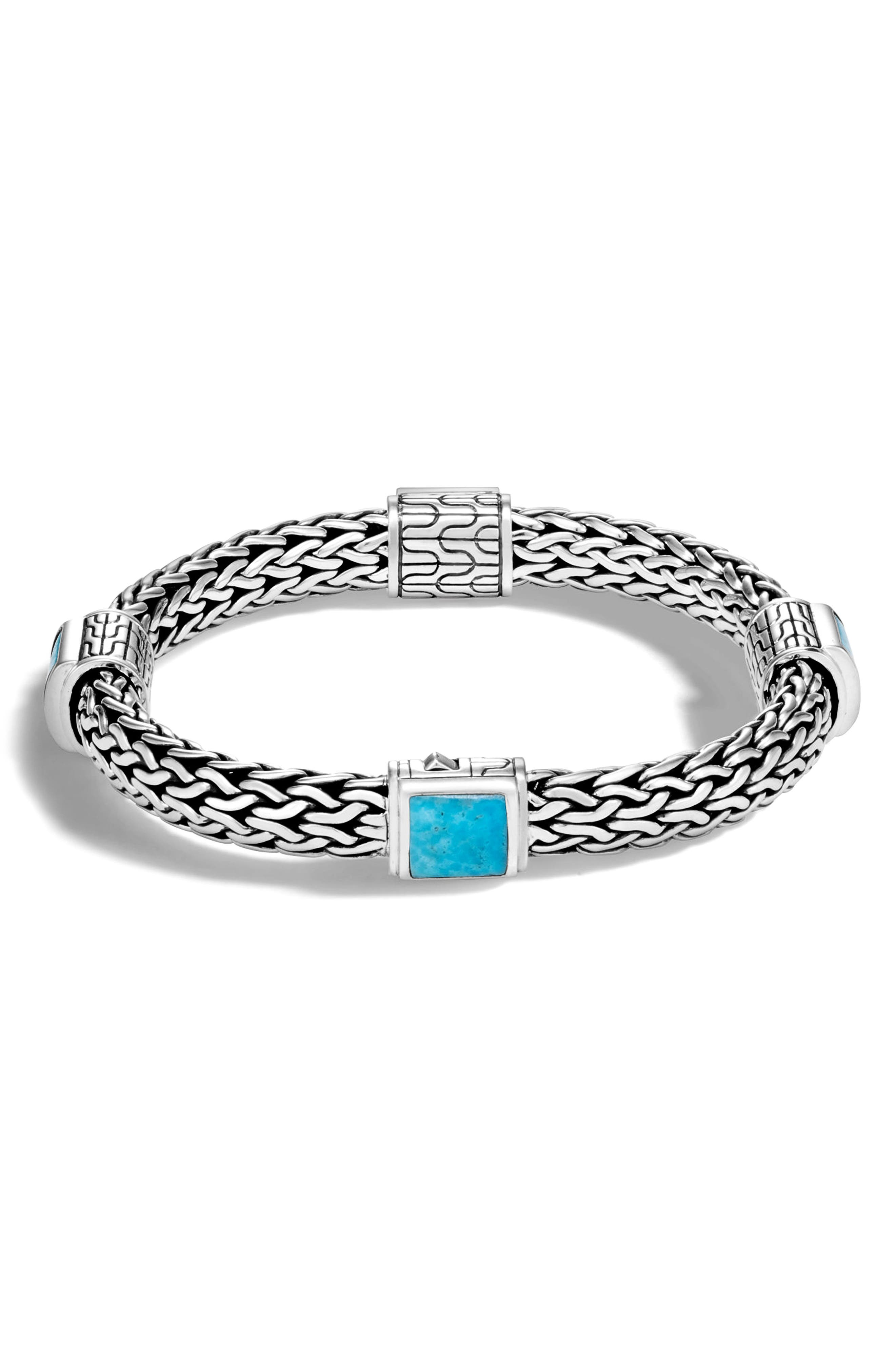 Classic Chain 7.5mm Station Bracelet,                         Main,                         color, SILVER/ TURQUOISE