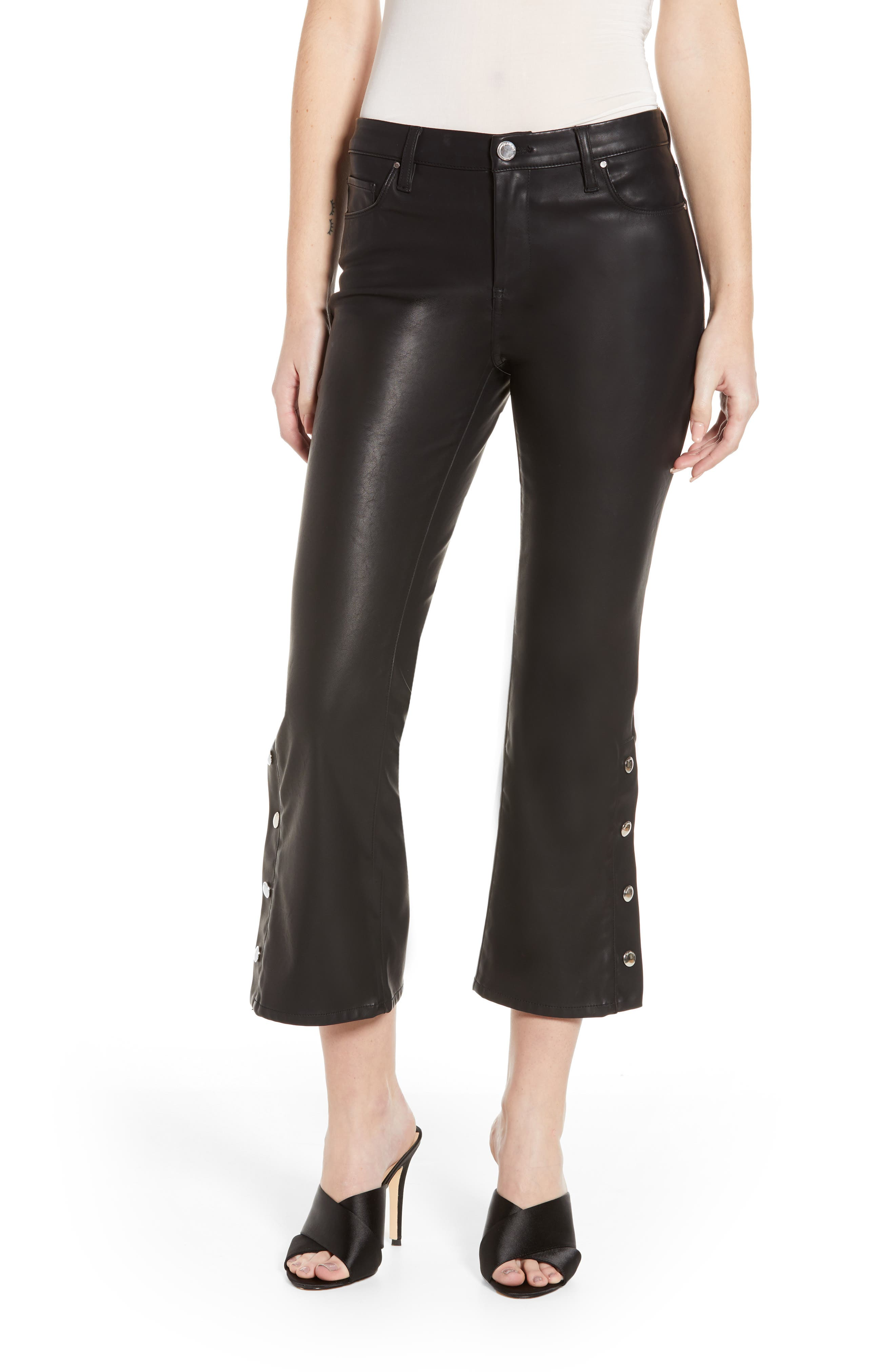 Blanknyc Vegan Leather Snap Kick Flare Pants, Black