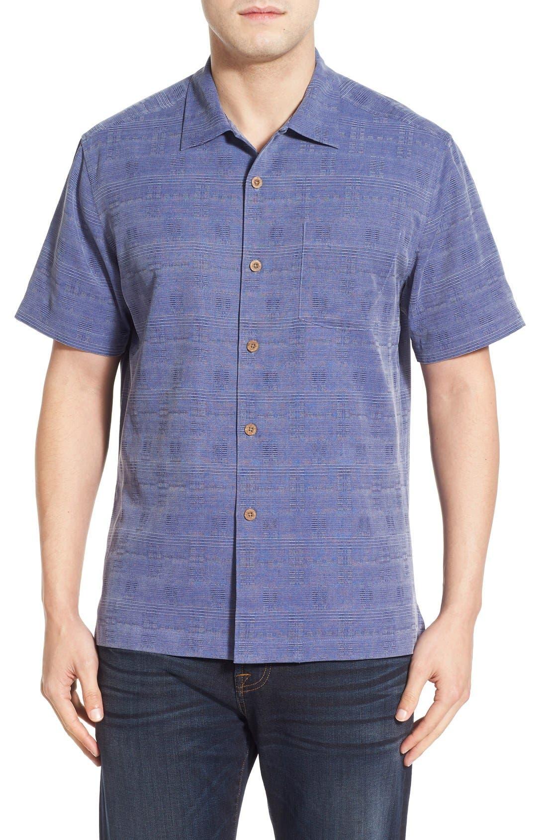 Original Fit Jacquard Silk Camp Shirt,                             Main thumbnail 4, color,