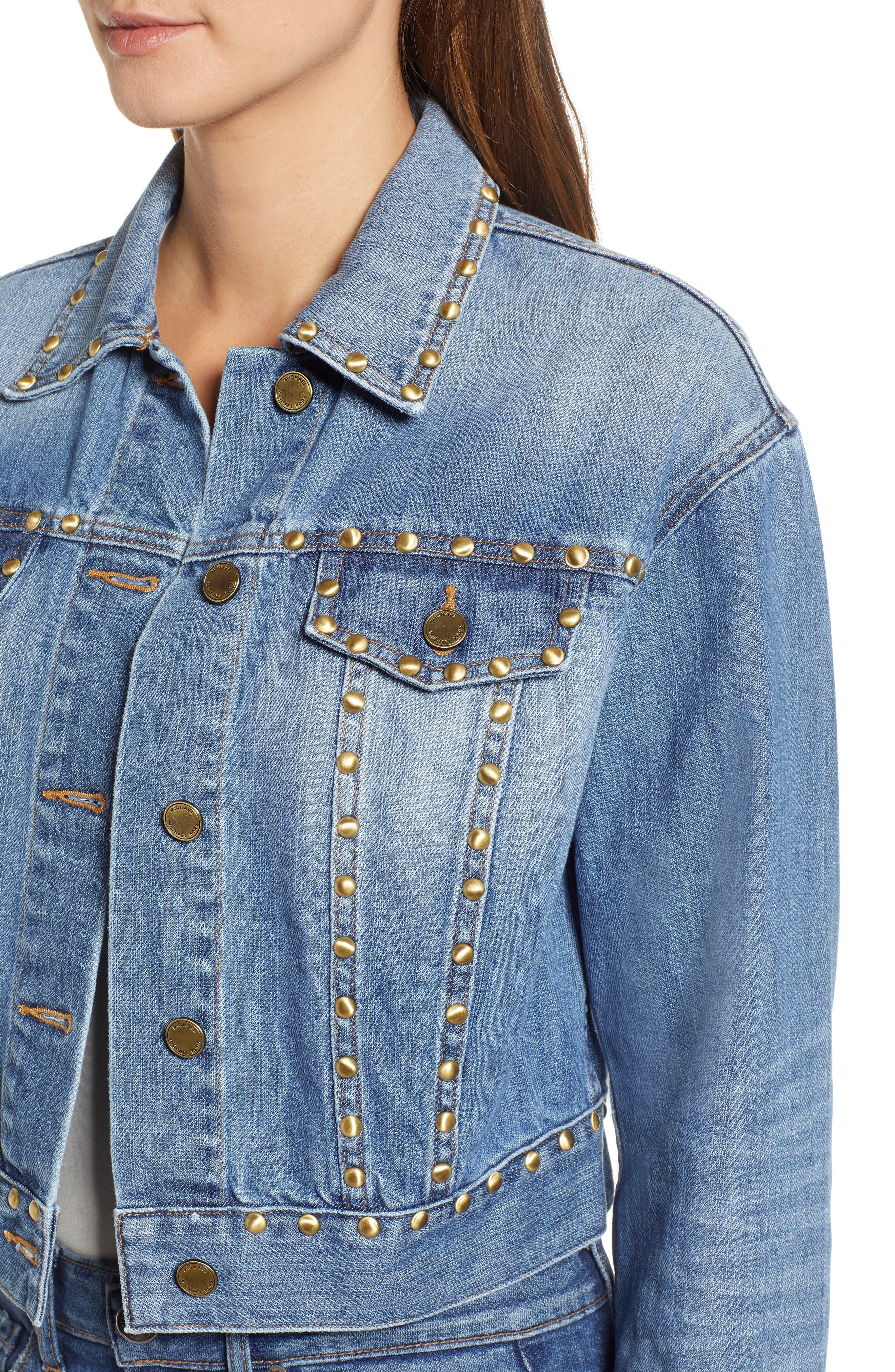 Studded Denim Jacket,                             Alternate thumbnail 4, color,                             ANTIQUE WASH